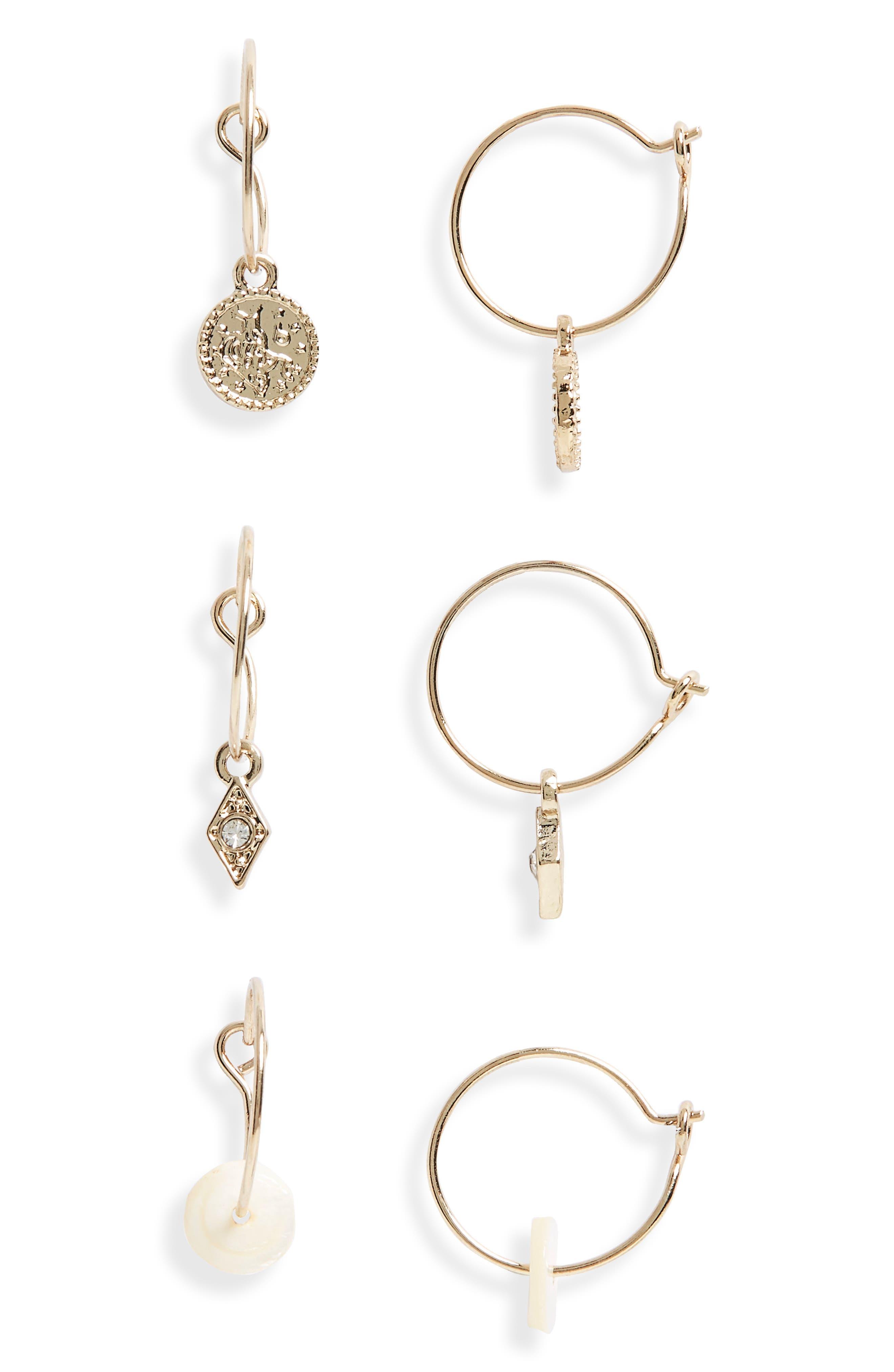 3-Pack Mini Drop Hoop Earrings,                         Main,                         color, 710