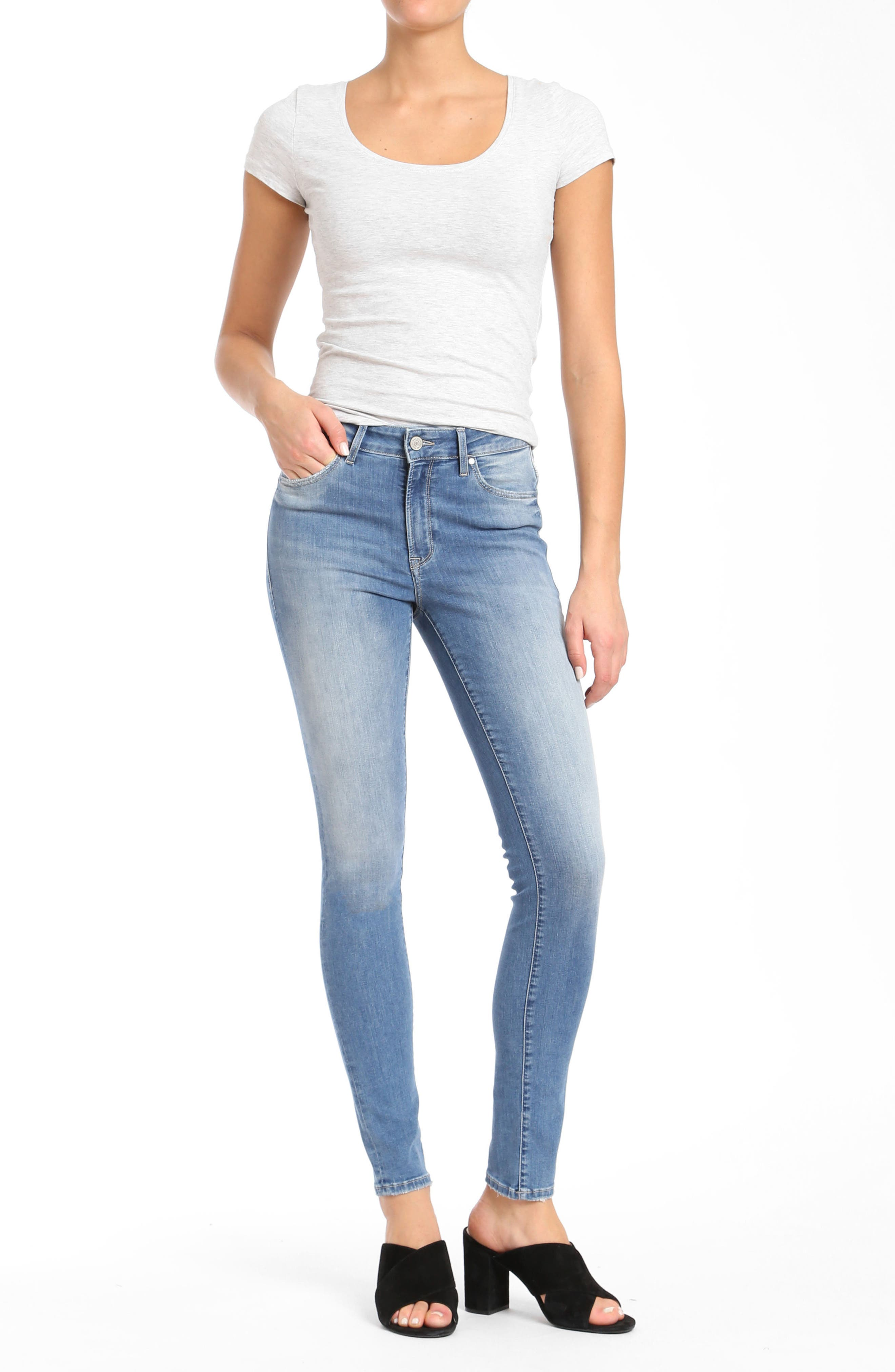 Mavi Alissa Super Skinny Jeans,                             Alternate thumbnail 4, color,                             INDIGO SHADED NOLITA