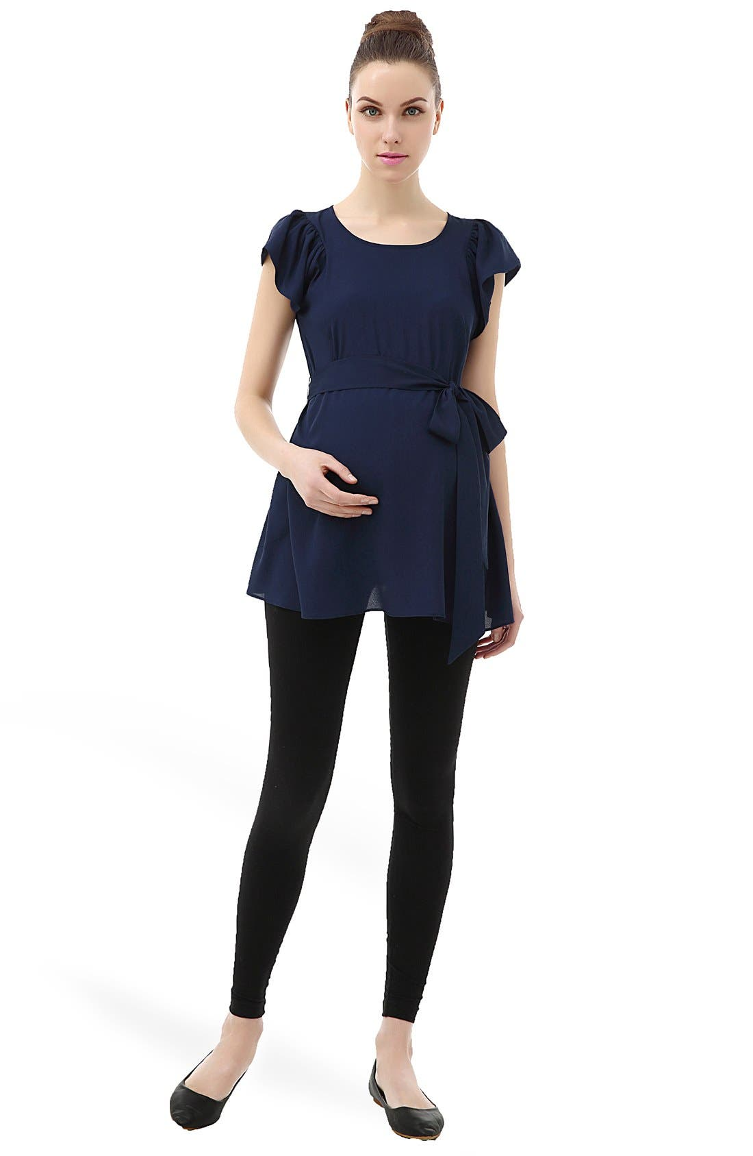 'Quinn' Flutter Sleeve Belted Maternity Top,                             Alternate thumbnail 4, color,