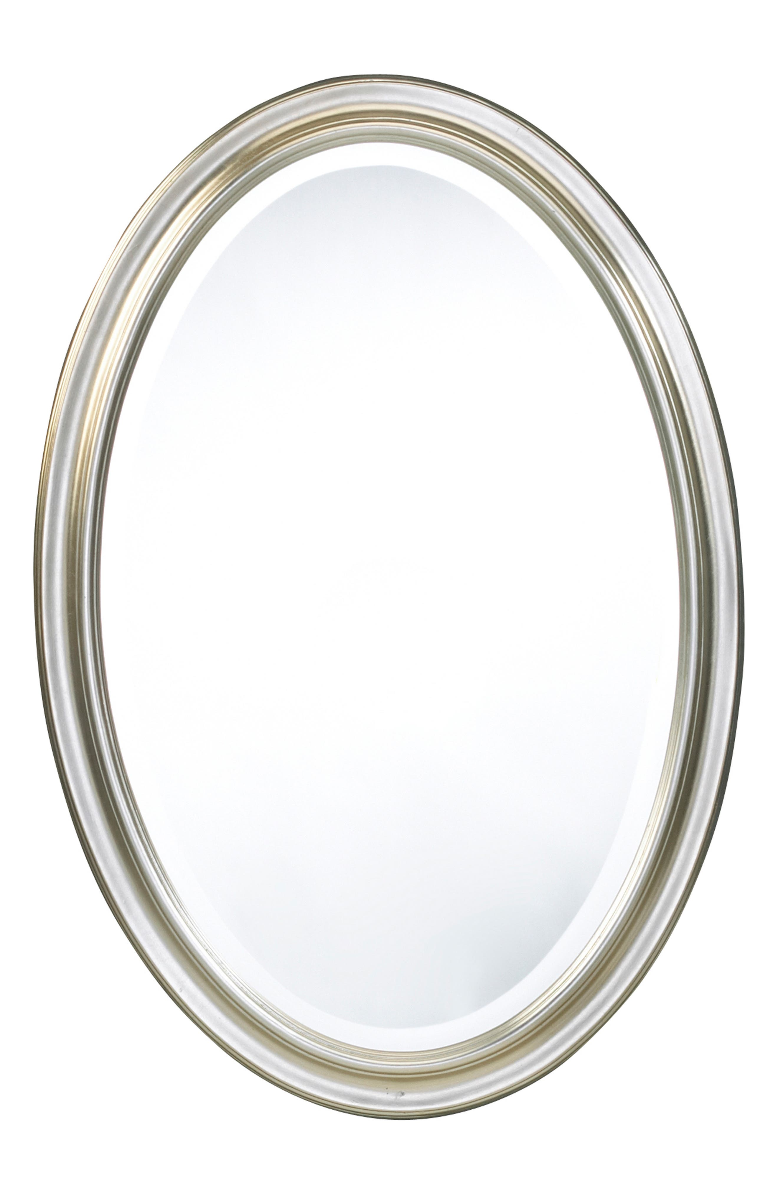 Silver Oval Wall Mirror,                             Main thumbnail 1, color,                             METALLIC SILVER