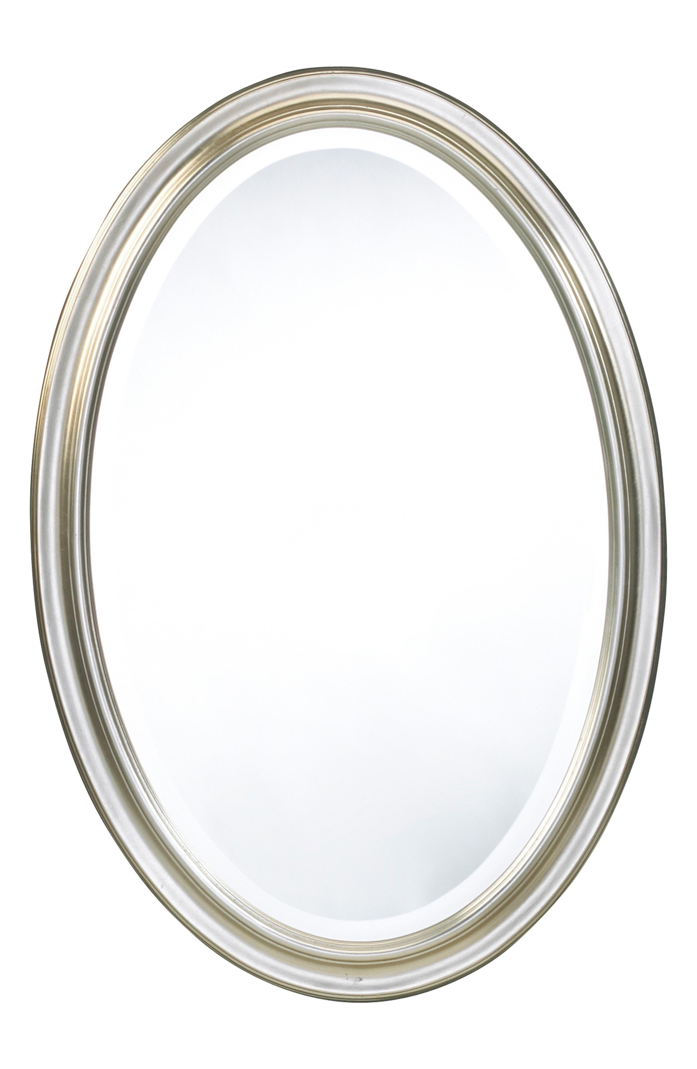 Silver Oval Wall Mirror, Main, color, METALLIC SILVER