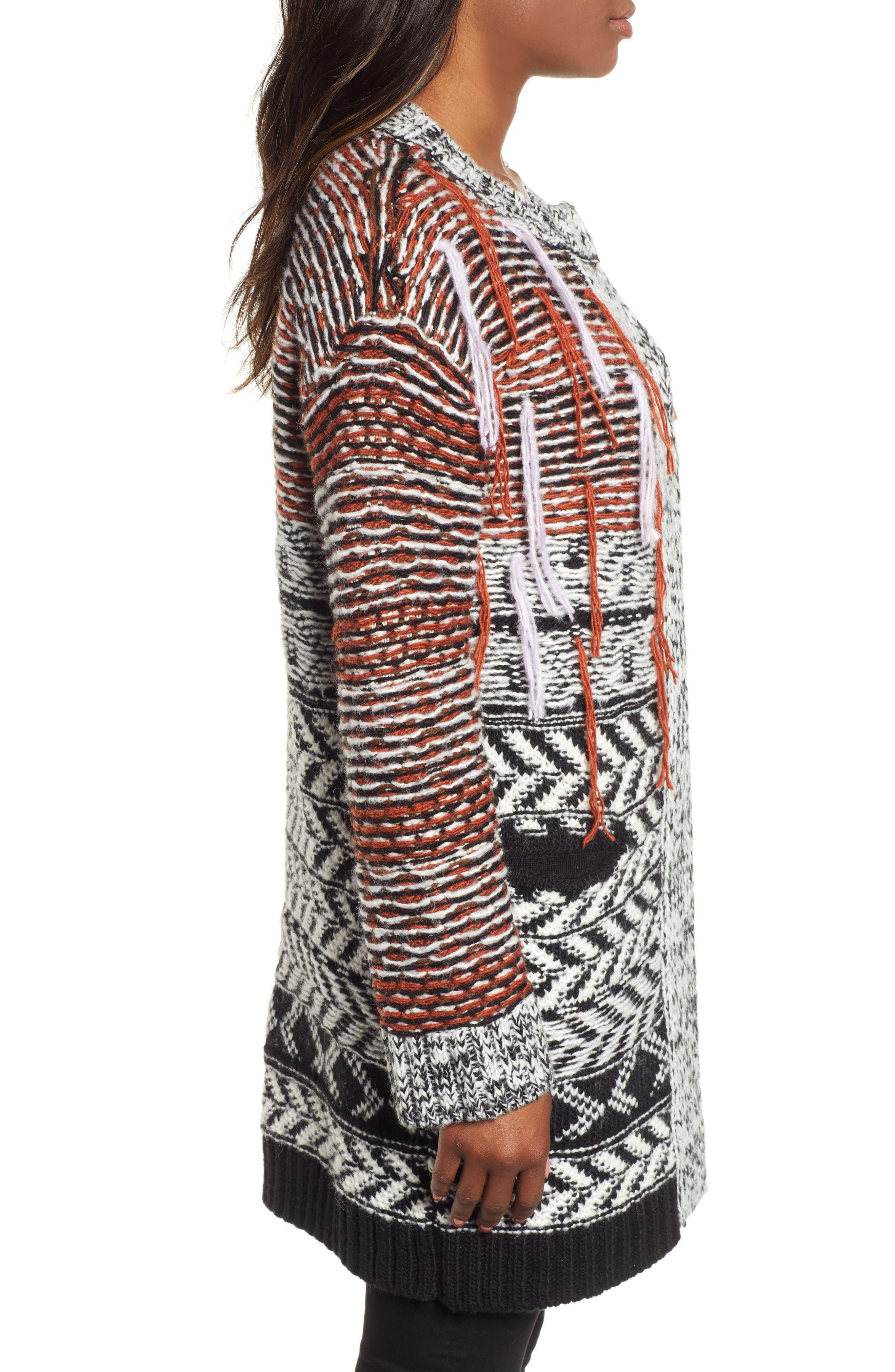 Multi Jacquard Sweater Coat,                             Alternate thumbnail 3, color,                             001