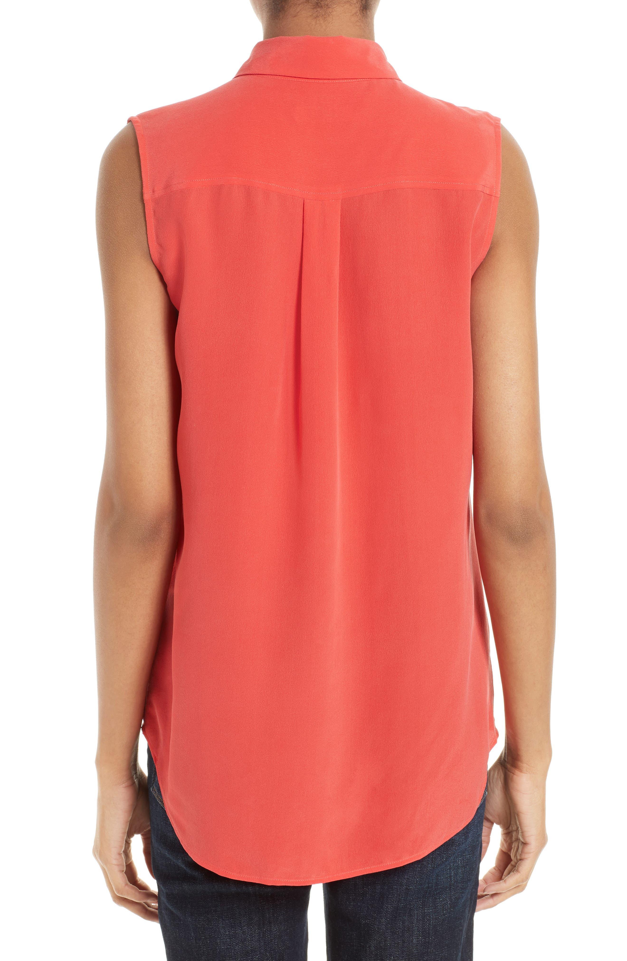 'Slim Signature' Sleeveless Silk Shirt,                             Main thumbnail 34, color,