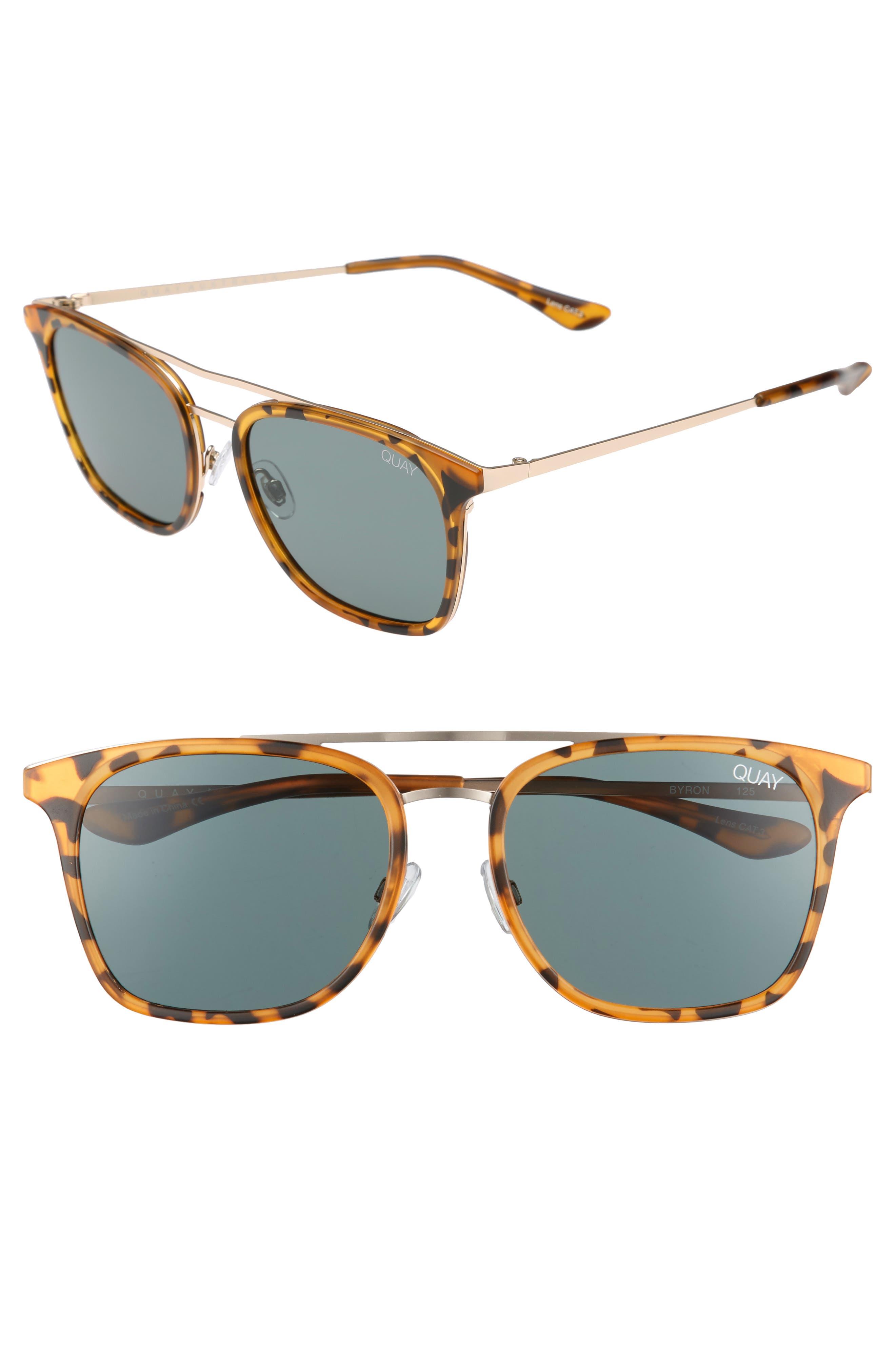Quay Australia Byron 50Mm Sunglasses - Tortoise/ Green