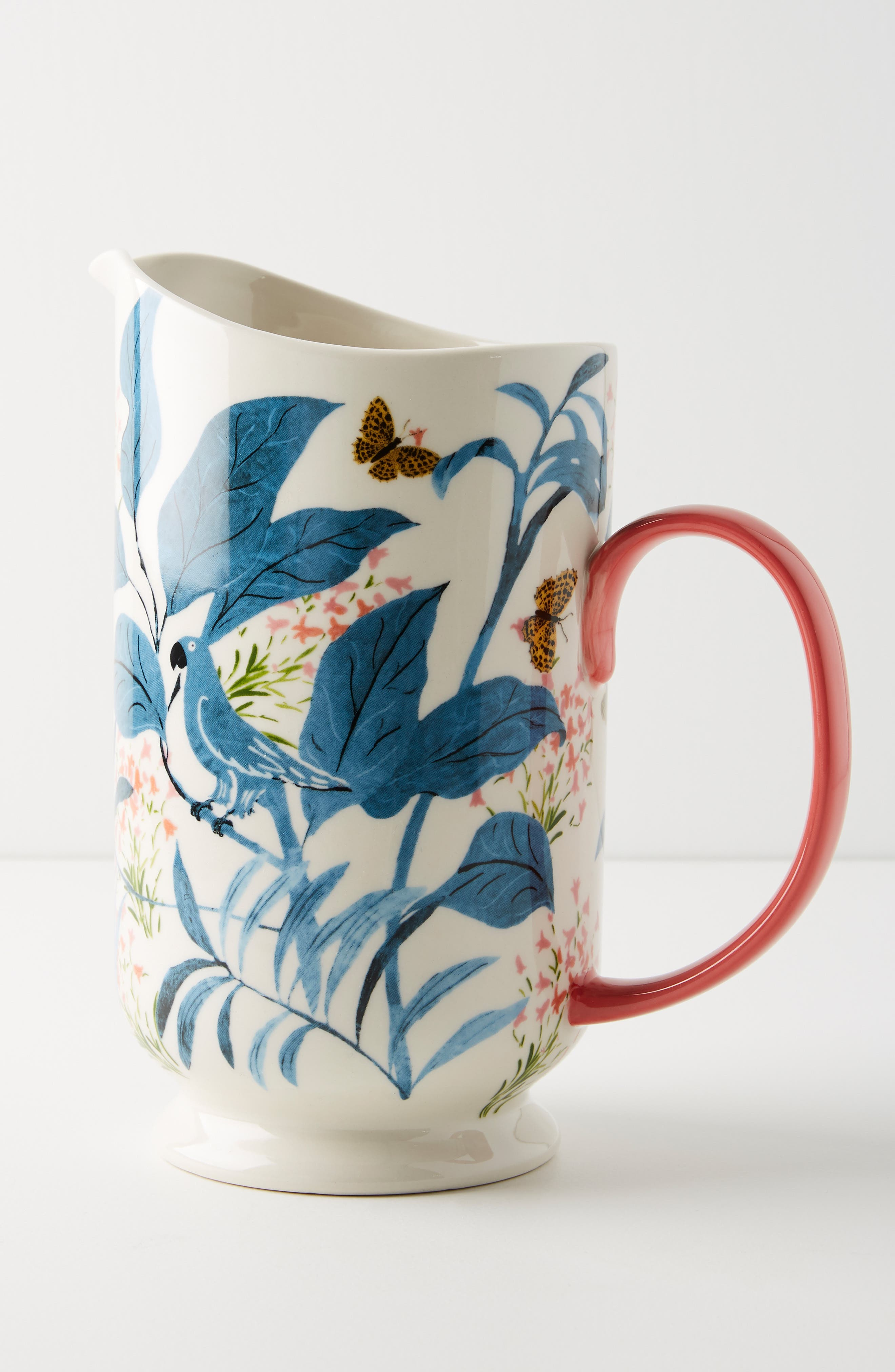 ANTHROPOLOGIE Paule Marrot Butterfly Pitcher, Main, color, BLUE
