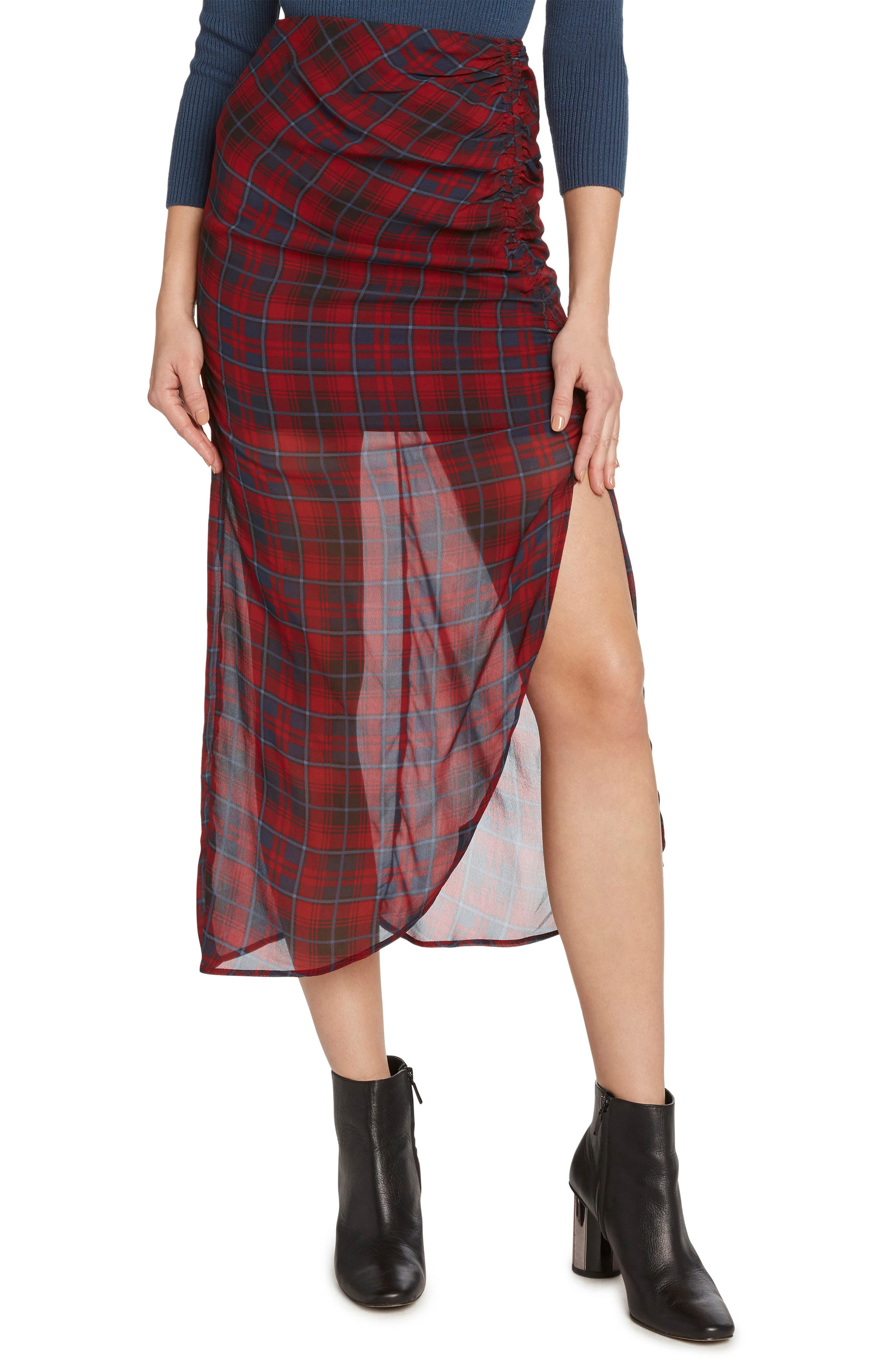 Plaid Ruched Skirt,                             Main thumbnail 1, color,                             WINE