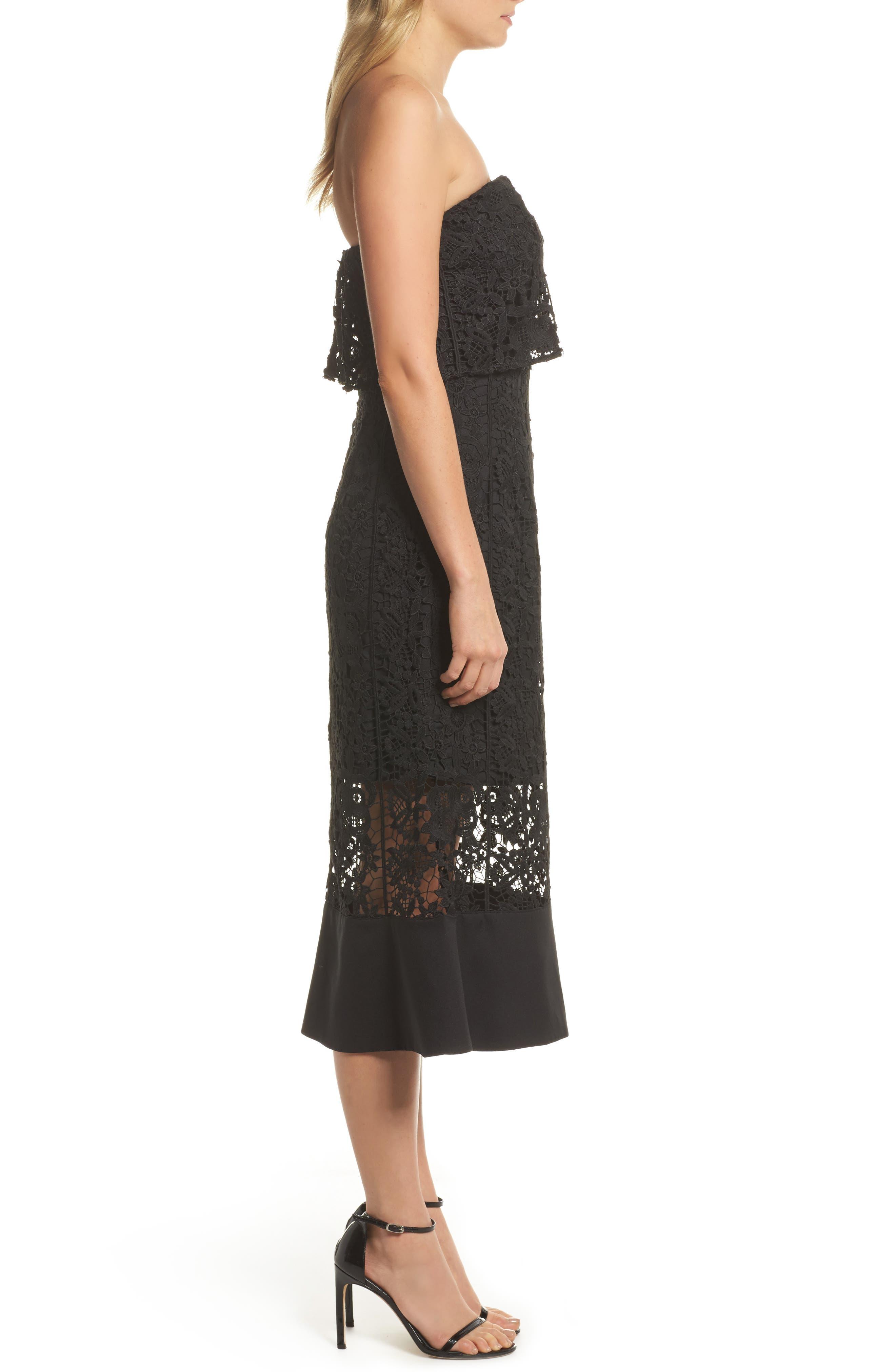 Xenia Strapless Lace Midi Dress,                             Alternate thumbnail 3, color,                             001