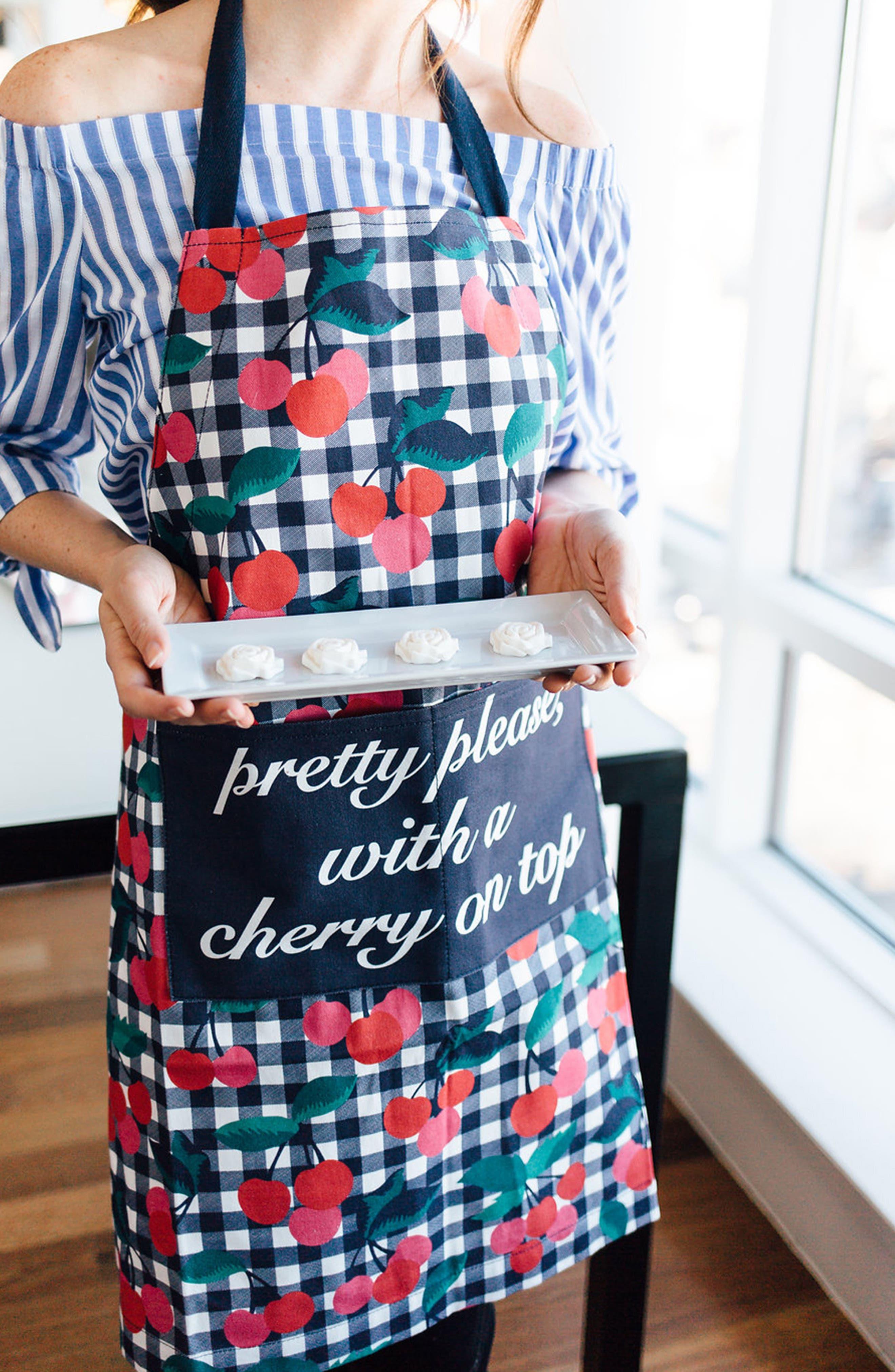 Cherry Print Apron,                             Alternate thumbnail 2, color,                             CHERRY