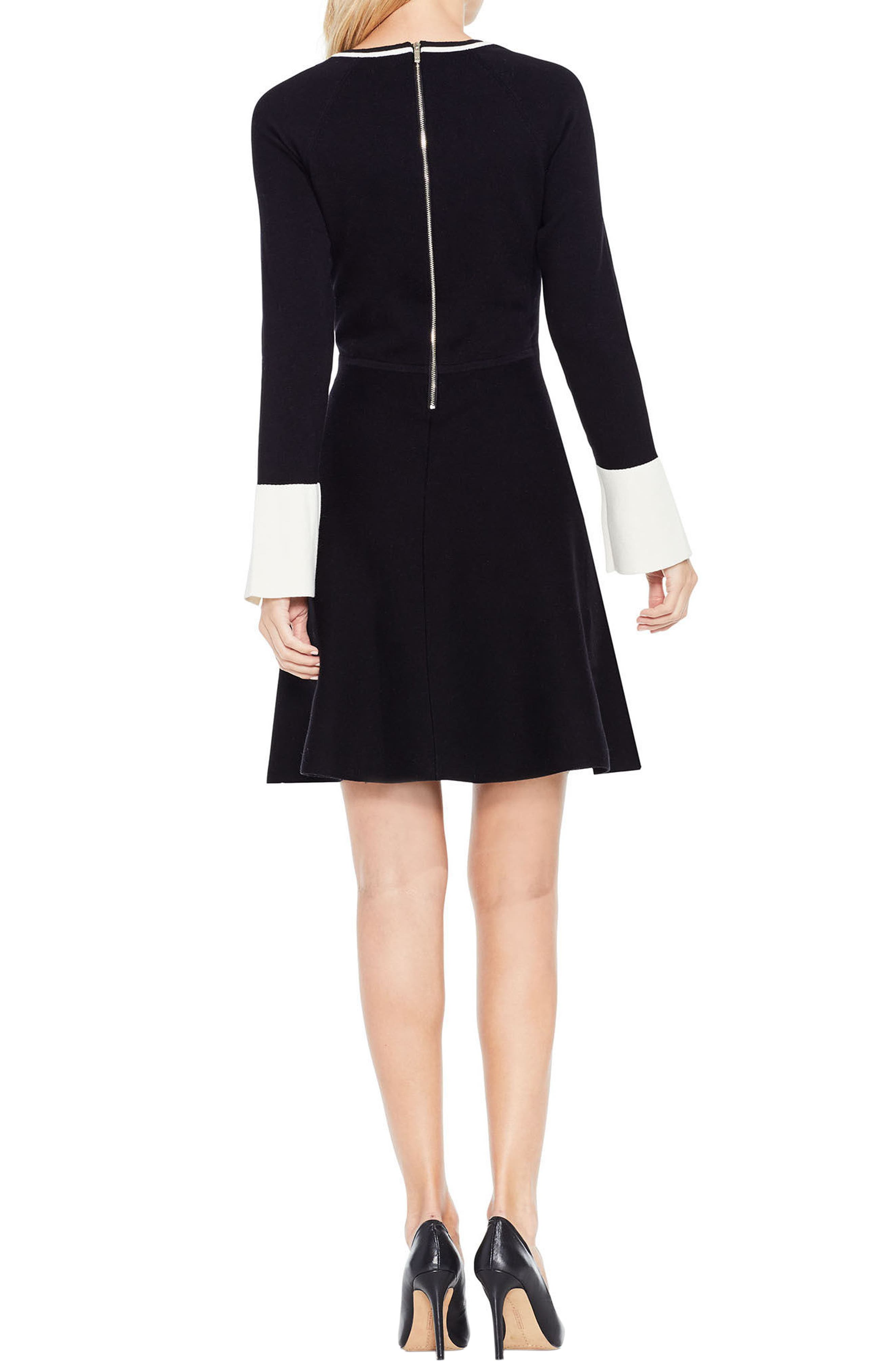 Fit & Flare Sweater Dress,                             Alternate thumbnail 2, color,                             006