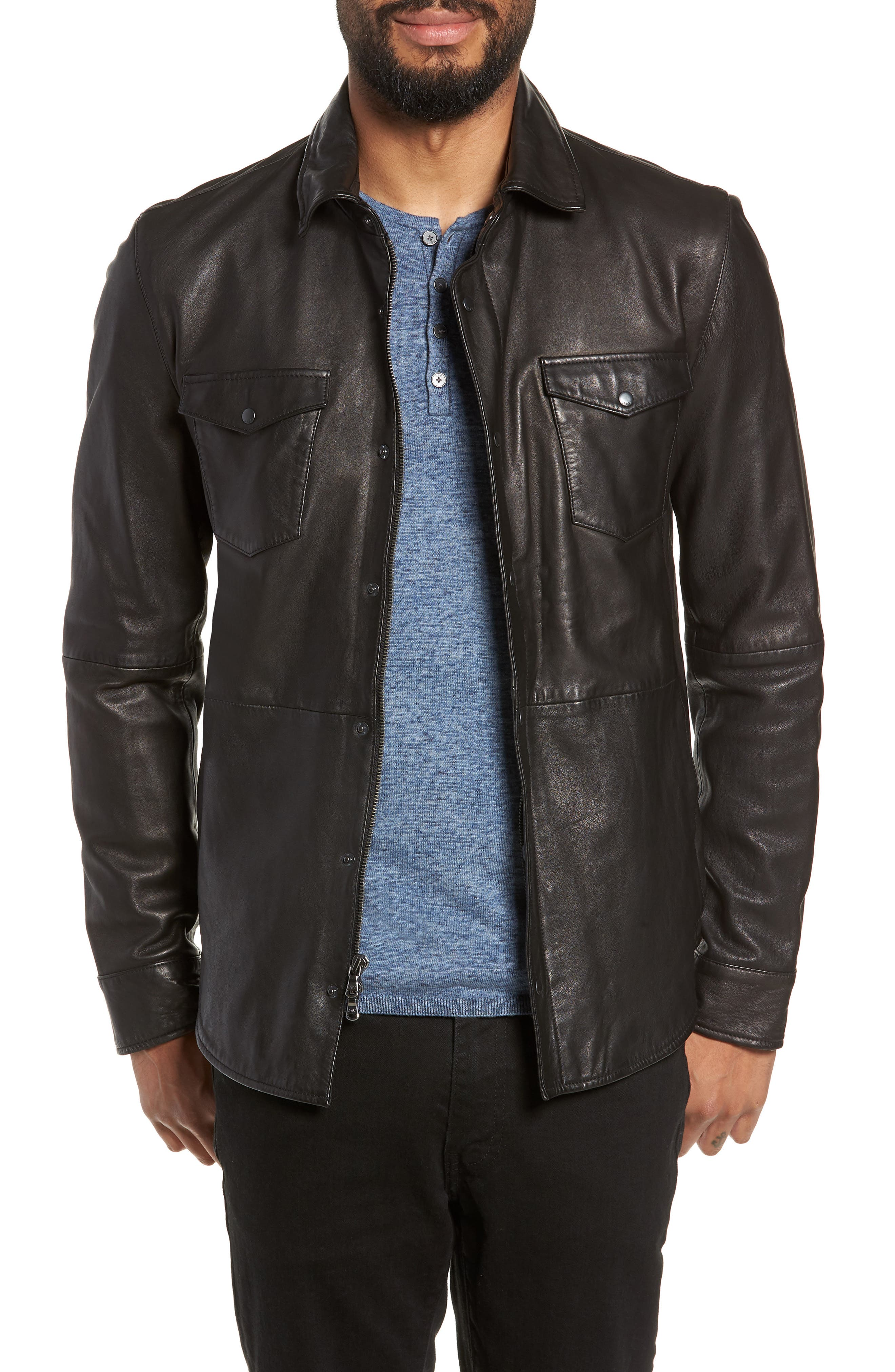 Oiled Lambskin Leather Shirt Jacket, Main, color, 001