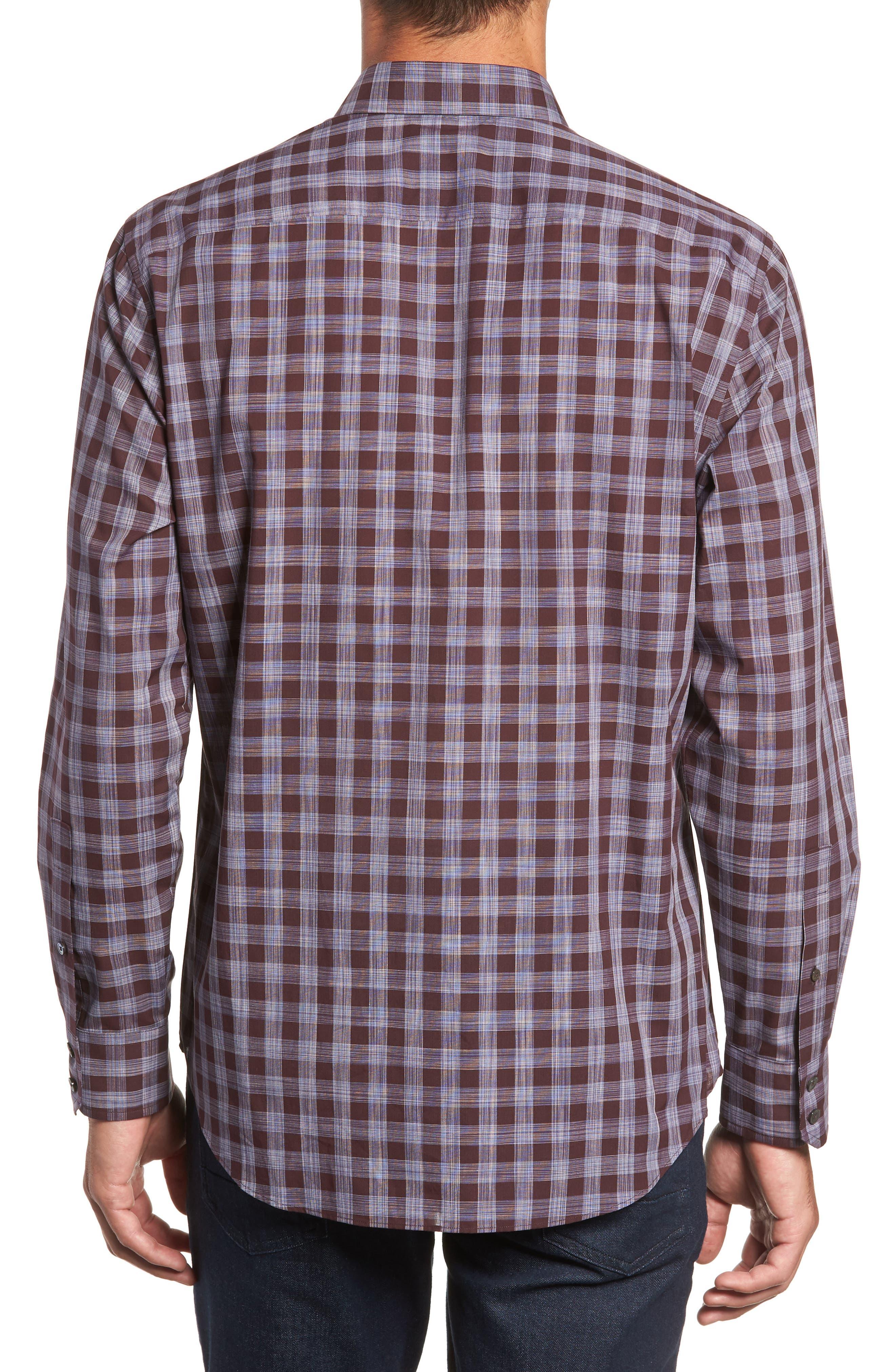 Luca Regular Fit Check Sport Shirt,                             Alternate thumbnail 3, color,                             BURGUNDY