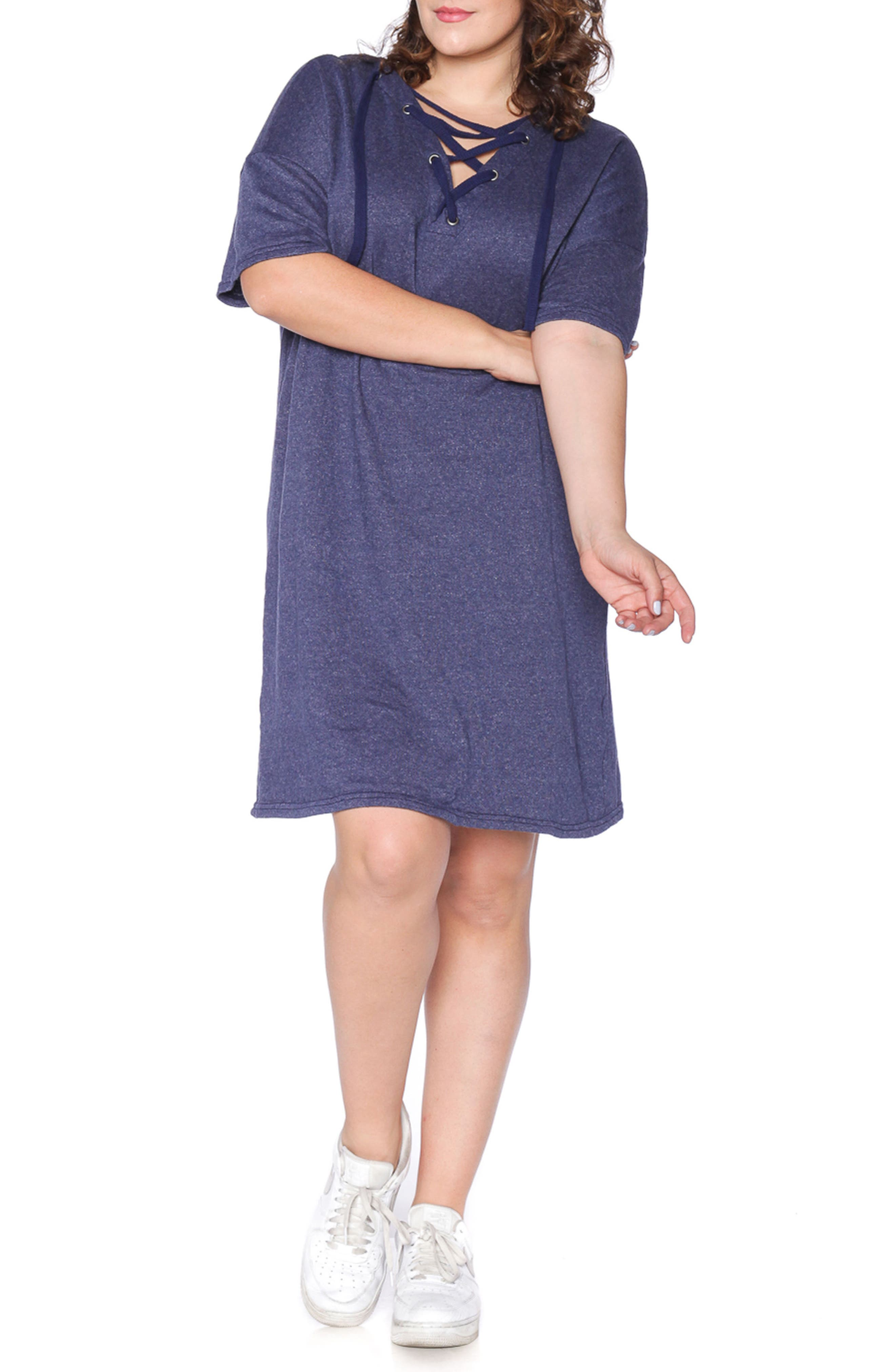 Lace-Up Hoodie Dress,                         Main,                         color, NAVY