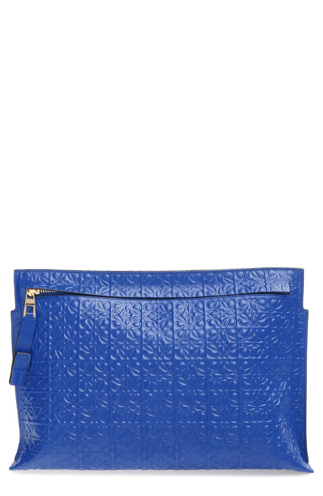 Large Logo Embossed Calfskin Leather Pouch,                         Main,                         color, ELECTRIC BLUE