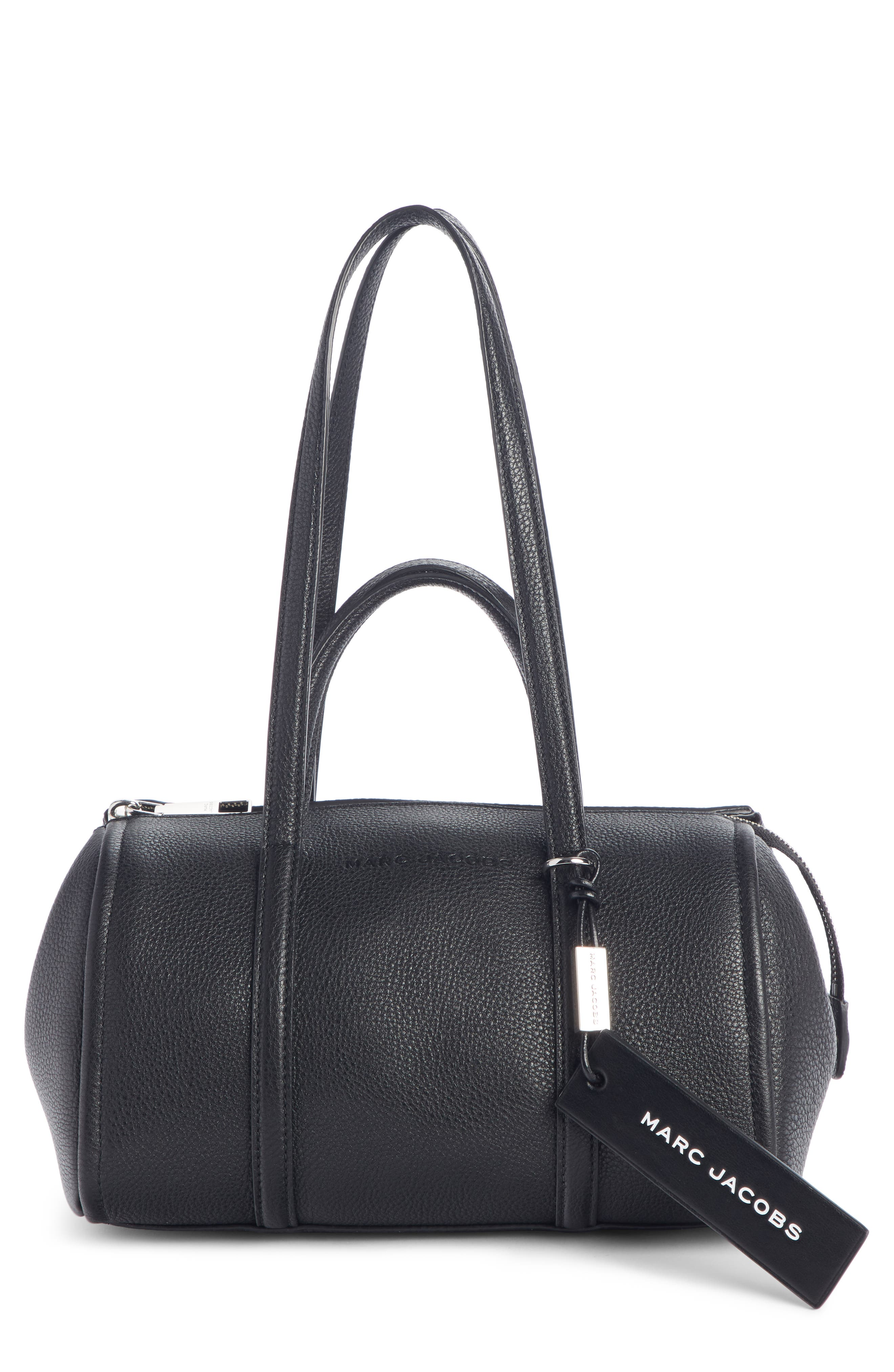 The Tag 26 Bauletto Leather Bag, Main, color, BLACK