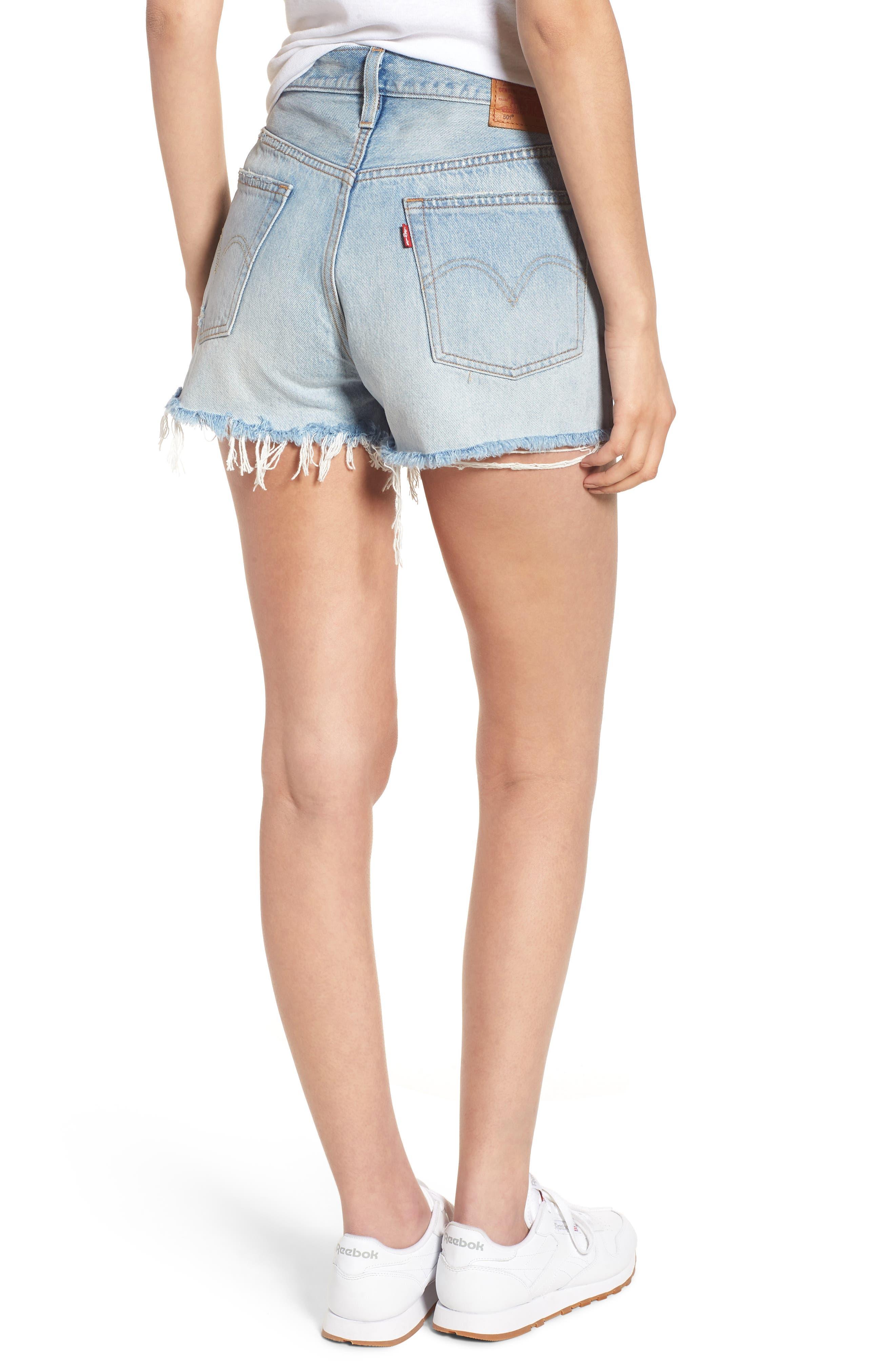 501<sup>®</sup> High Waist Denim Shorts,                             Alternate thumbnail 2, color,                             451