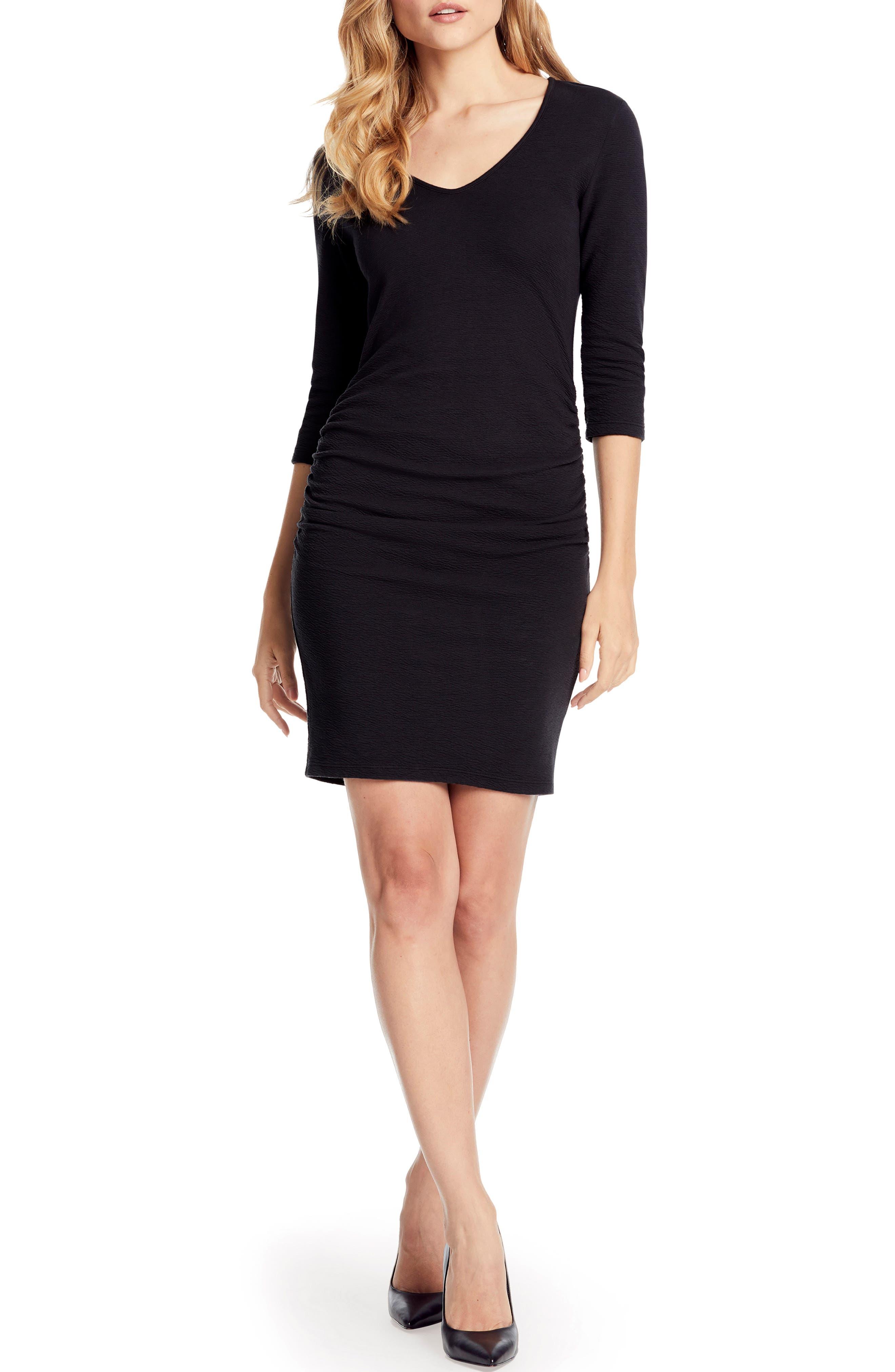 Michael Stars Pebble Knit Ruched Body-Con Dress, Black