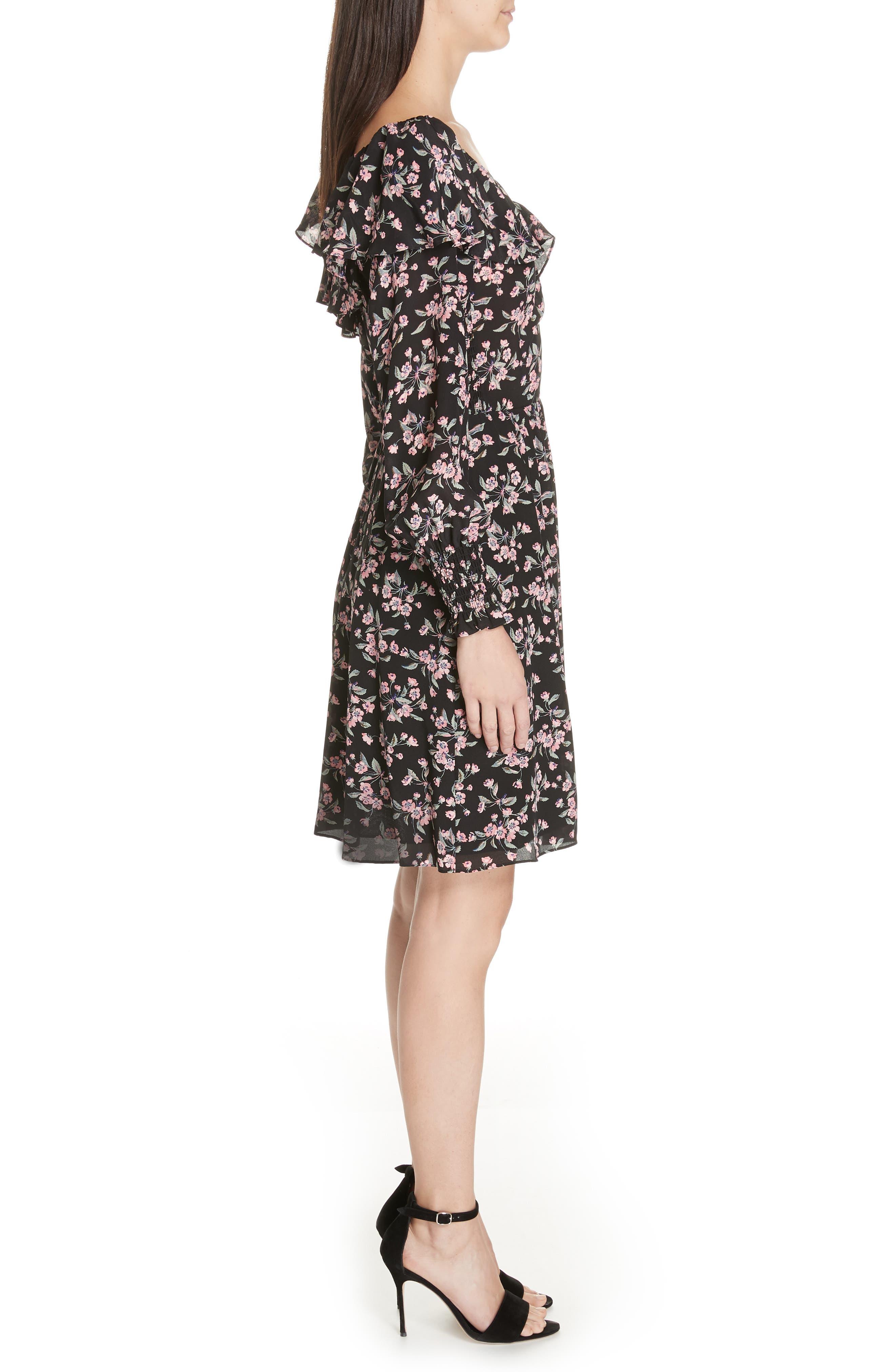 REBECCA TAYLOR,                             Tilda Silk Ruffle Dress,                             Alternate thumbnail 4, color,                             014