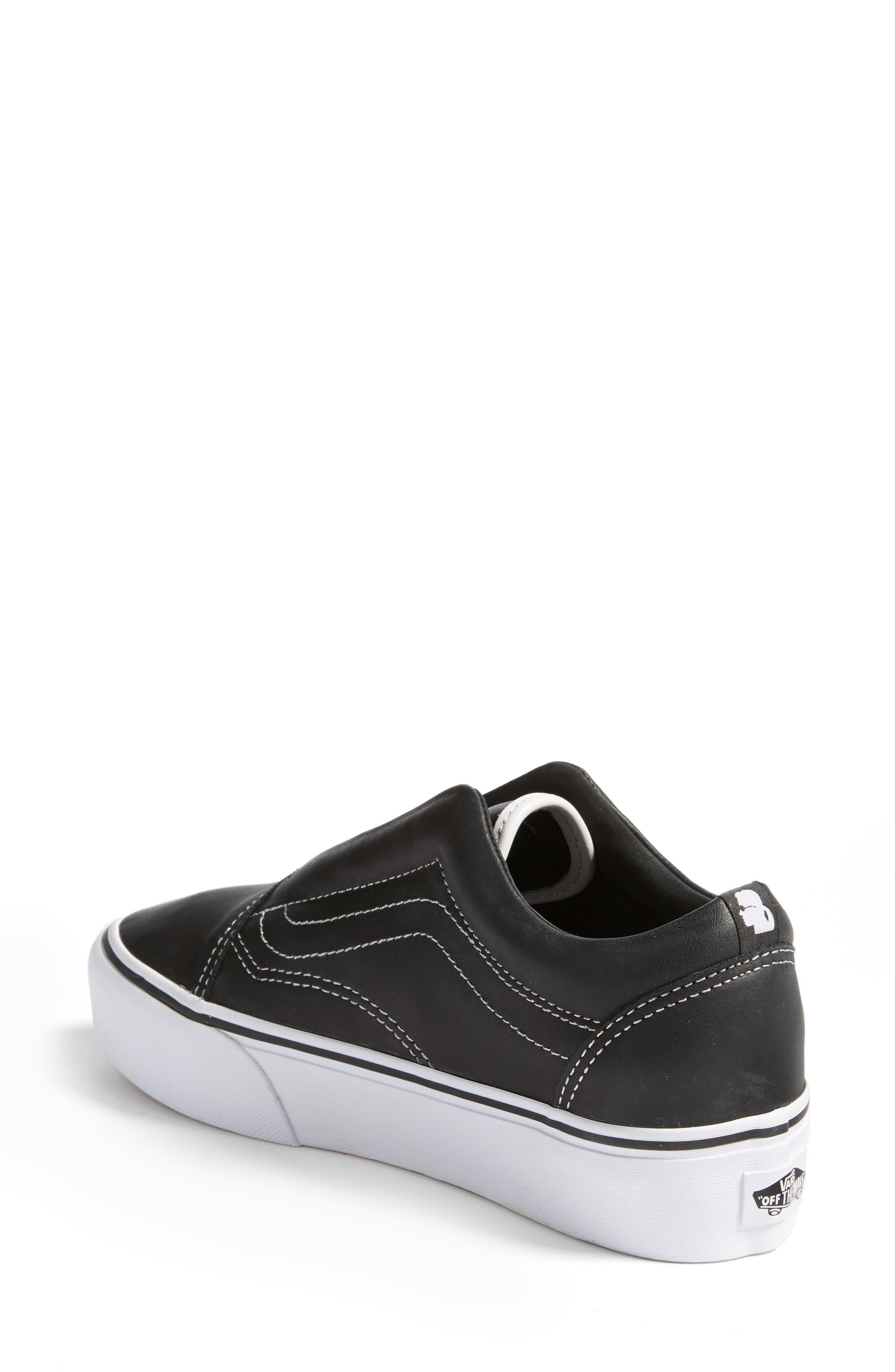 VANS,                             x KARL LAGERFELD Old Skool Leather Platform Sneaker,                             Alternate thumbnail 2, color,                             001