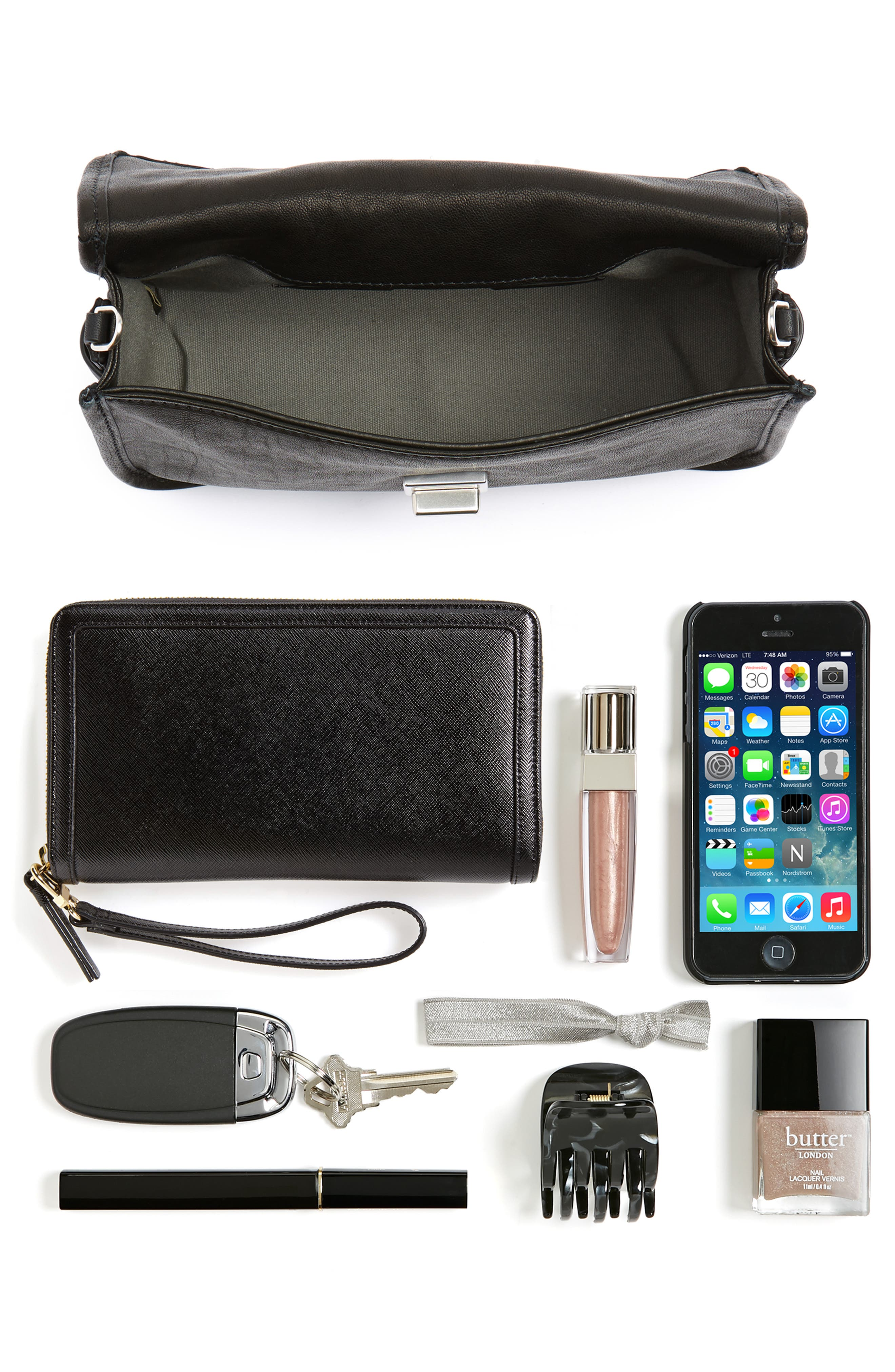 Leather Field Clutch,                             Alternate thumbnail 7, color,                             001
