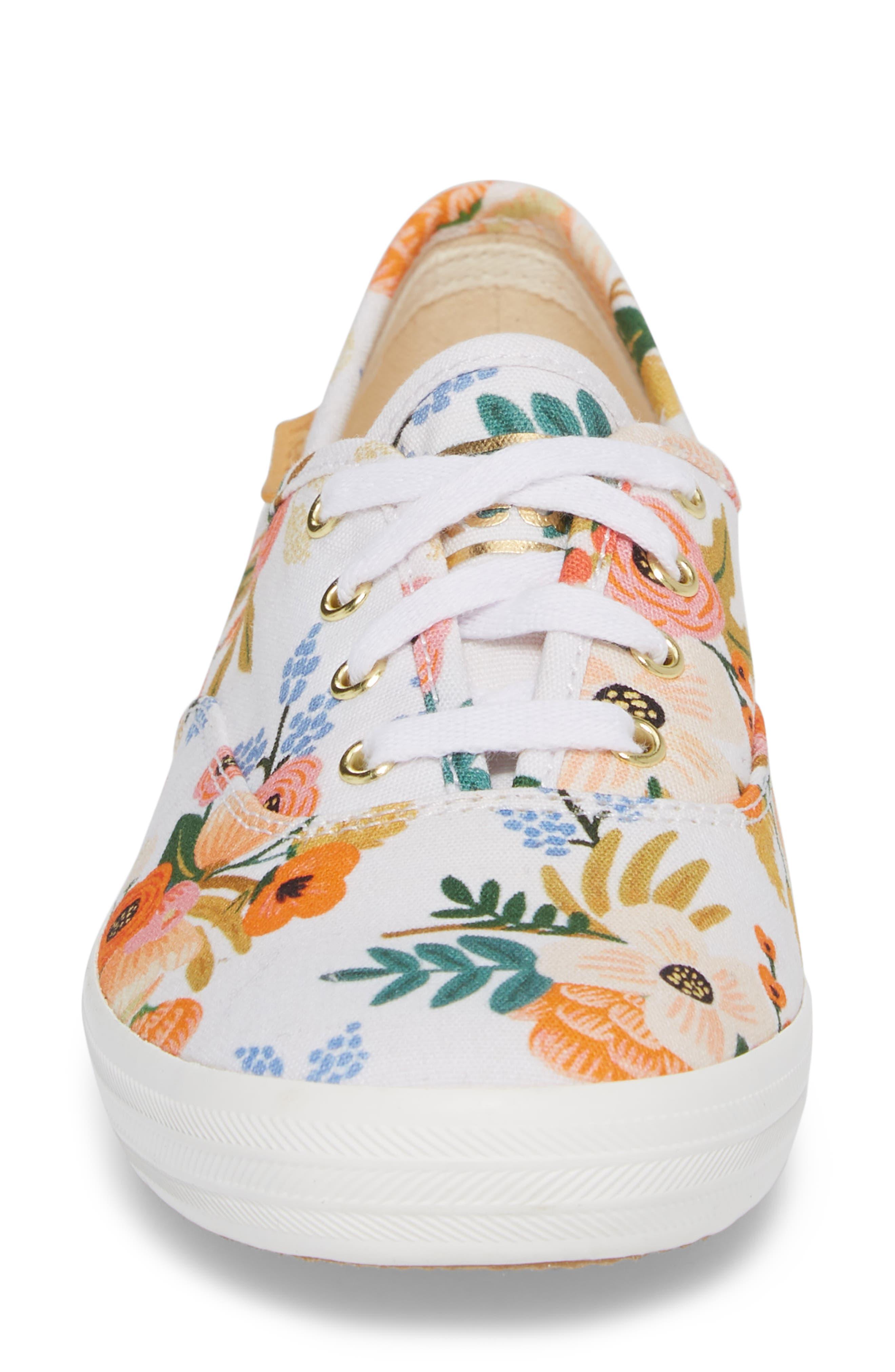 x Rifle Paper Co. Champion Floral Print Sneaker,                             Alternate thumbnail 4, color,                             WHITE