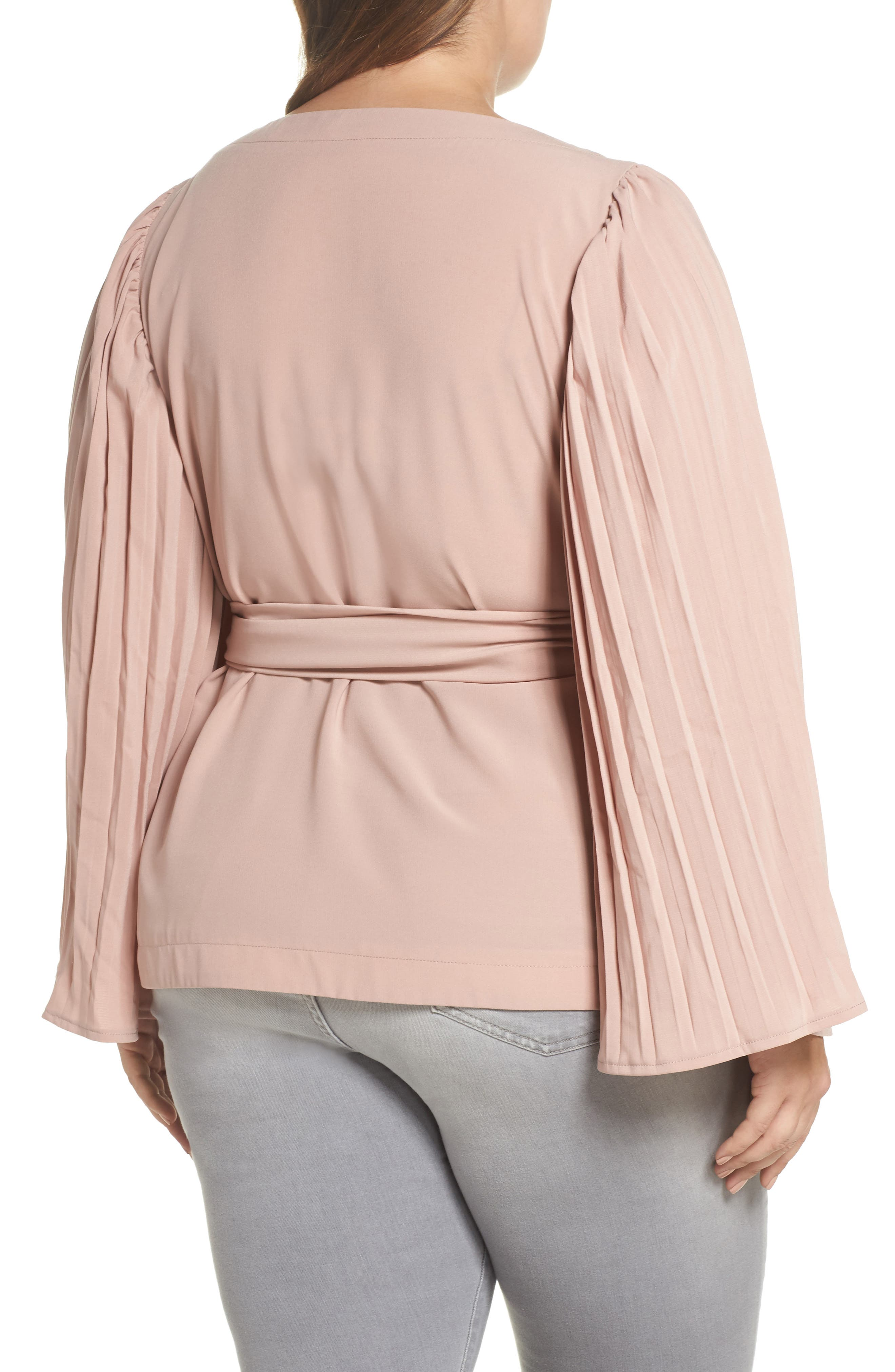 The Luster Pleat Sleeve Wrap Top,                             Alternate thumbnail 2, color,                             PINK