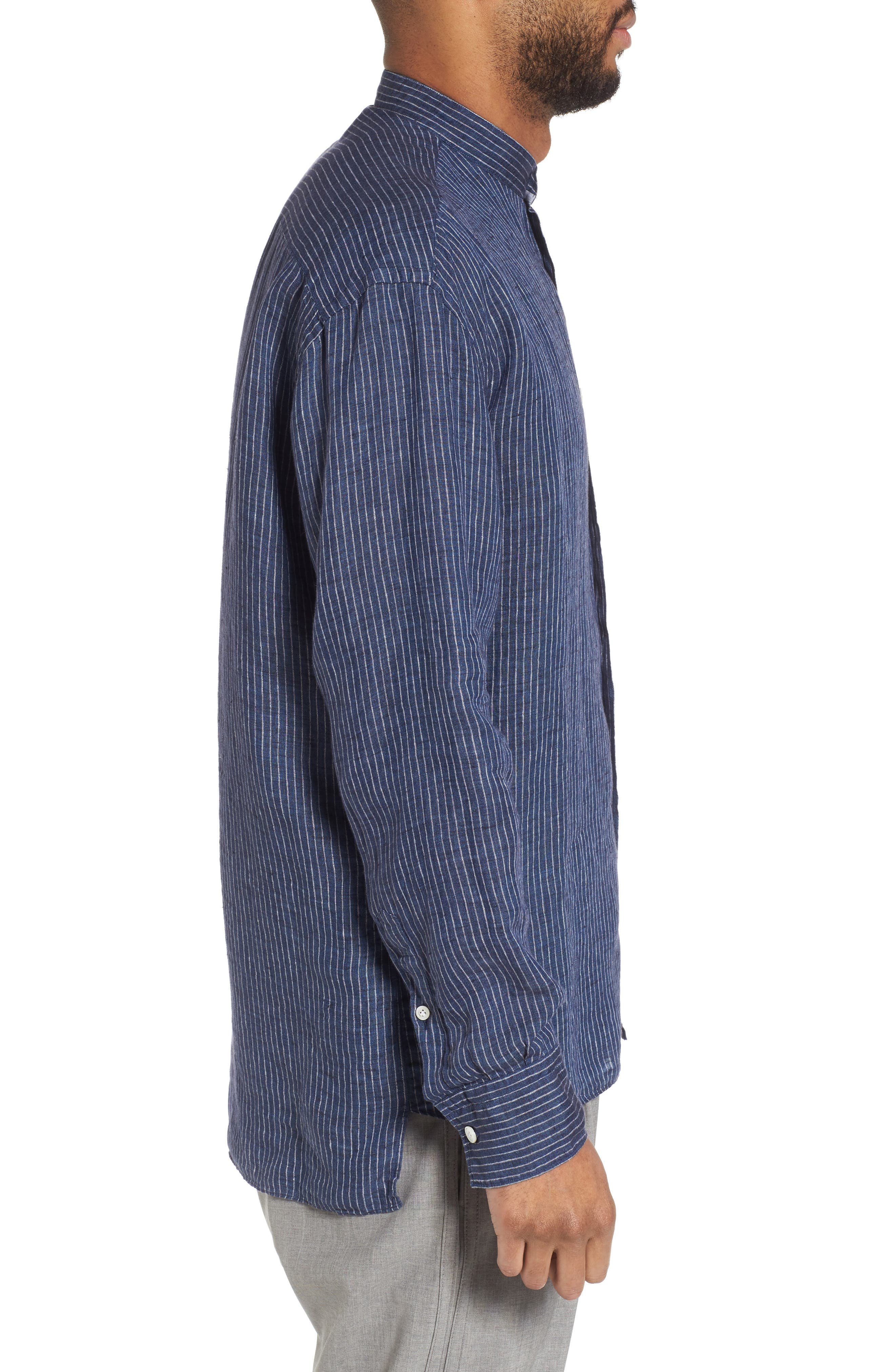 Railroad Stripe Linen Sport Shirt,                             Alternate thumbnail 3, color,                             410