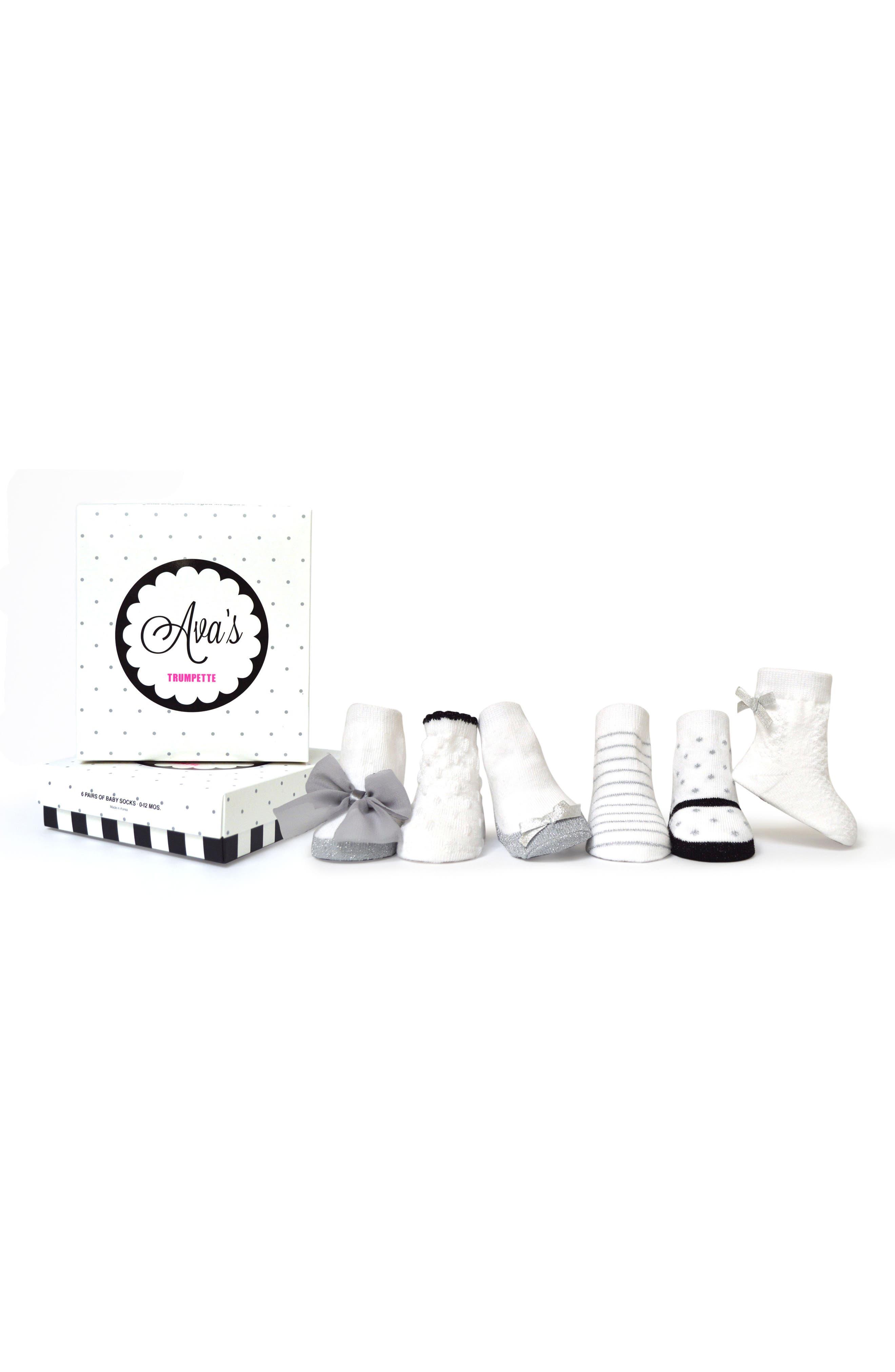 Ava's 6-Pack Socks,                         Main,                         color, 100