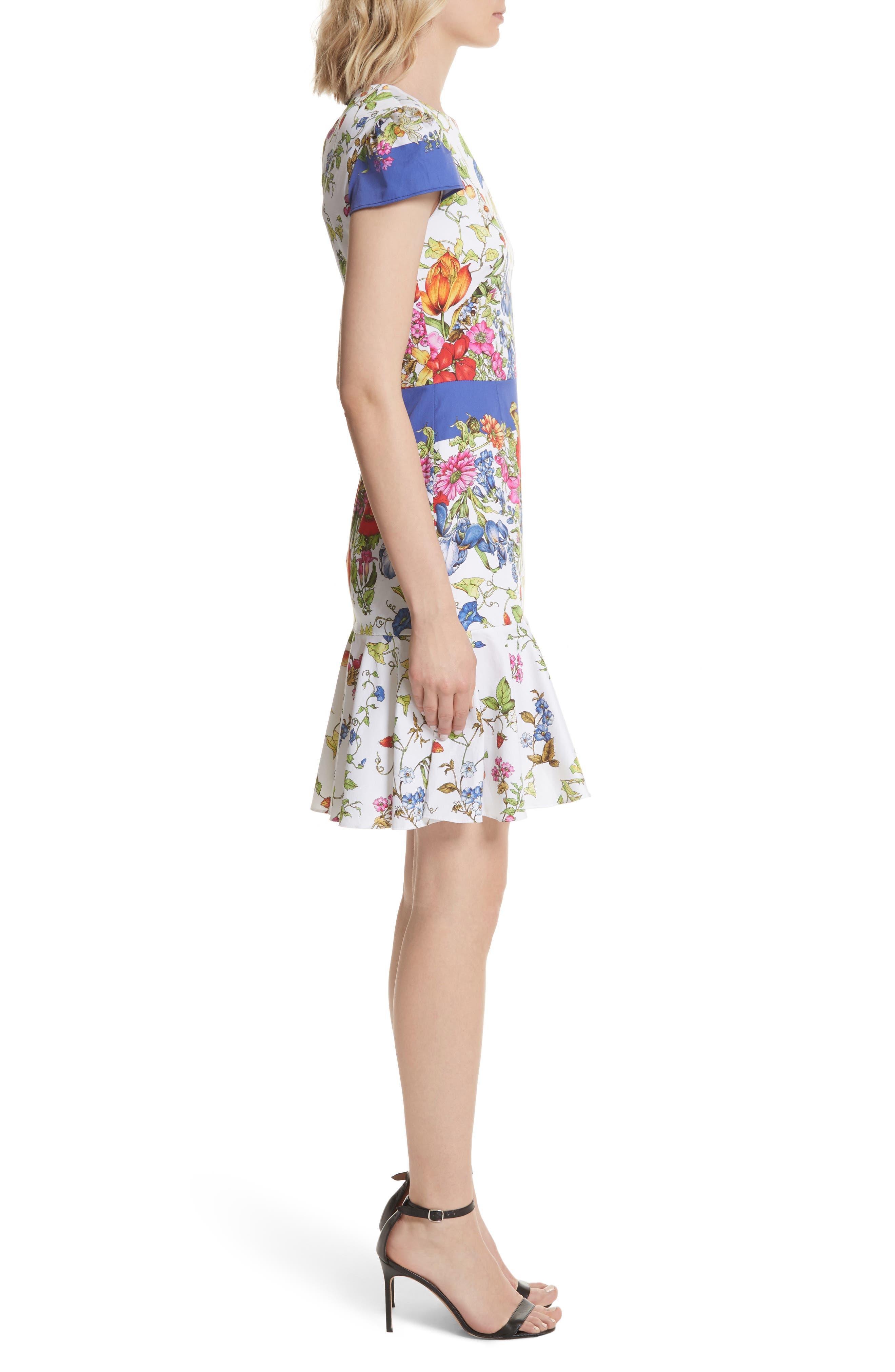 Karissa Floral Stretch Cotton Dress,                             Alternate thumbnail 3, color,                             164