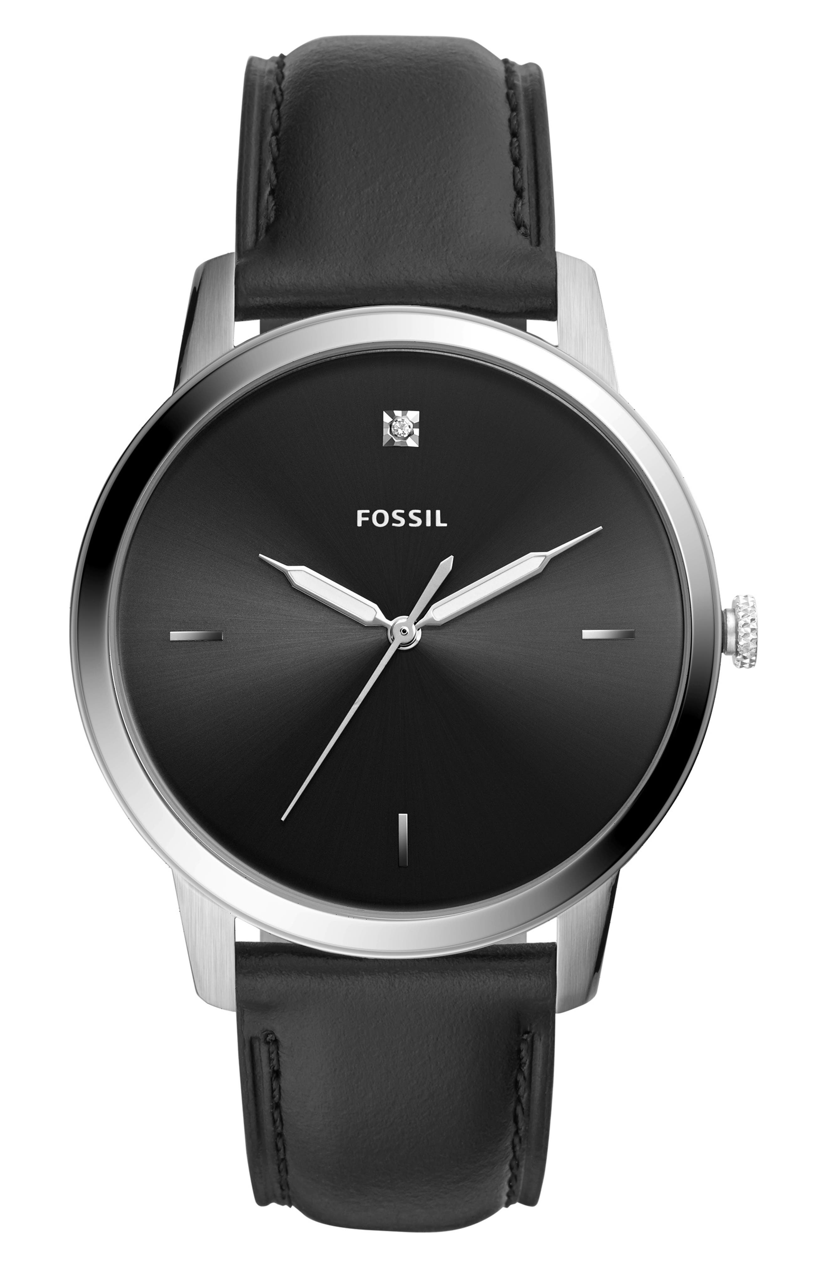 Minimalist 3H Carbon Leather Strap Watch, 44mm,                         Main,                         color, BLACK/ SILVER