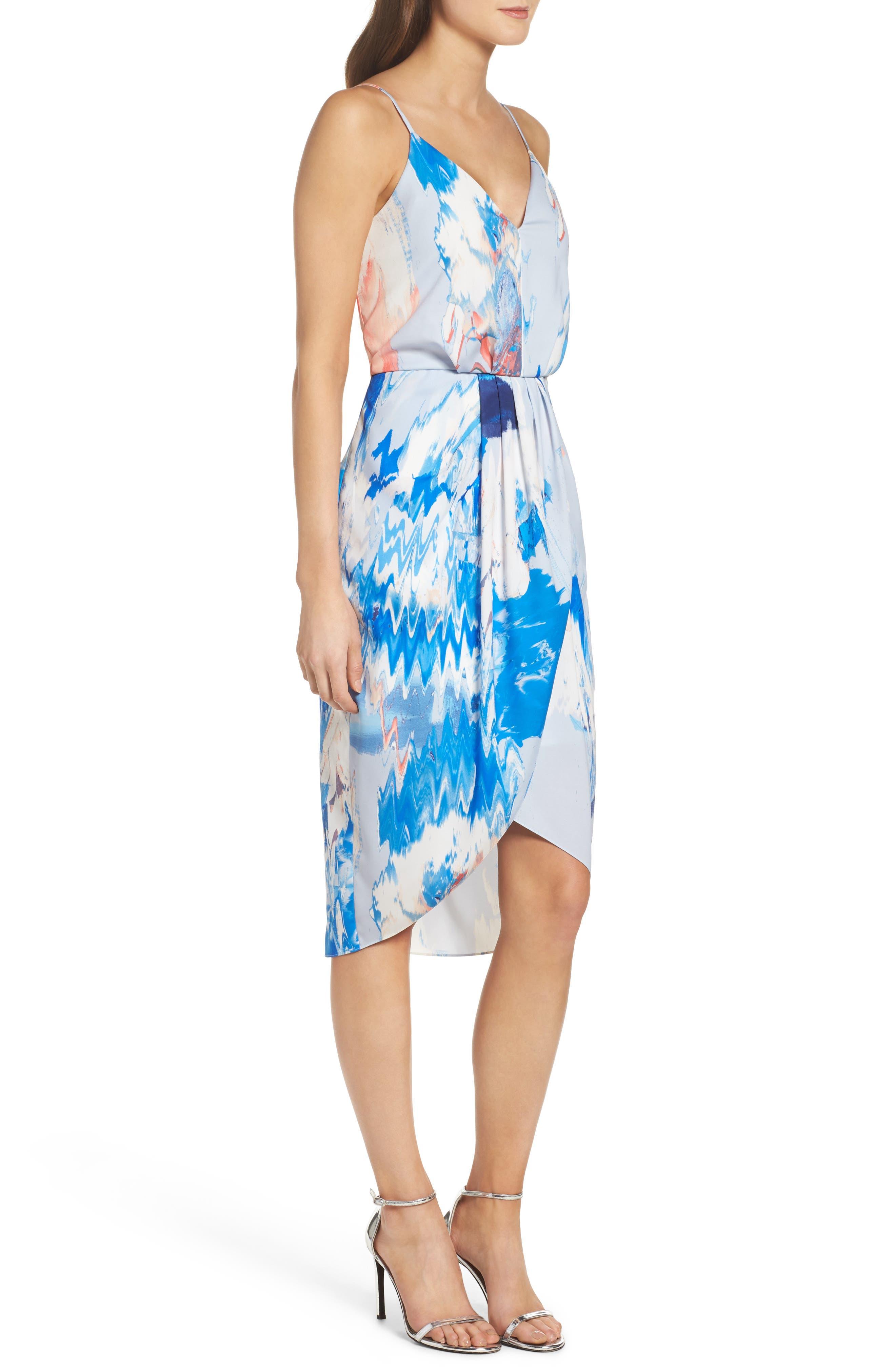Print Faux Wrap Dress,                             Alternate thumbnail 3, color,                             BLUE WATERCOLOR FLORAL PRINT