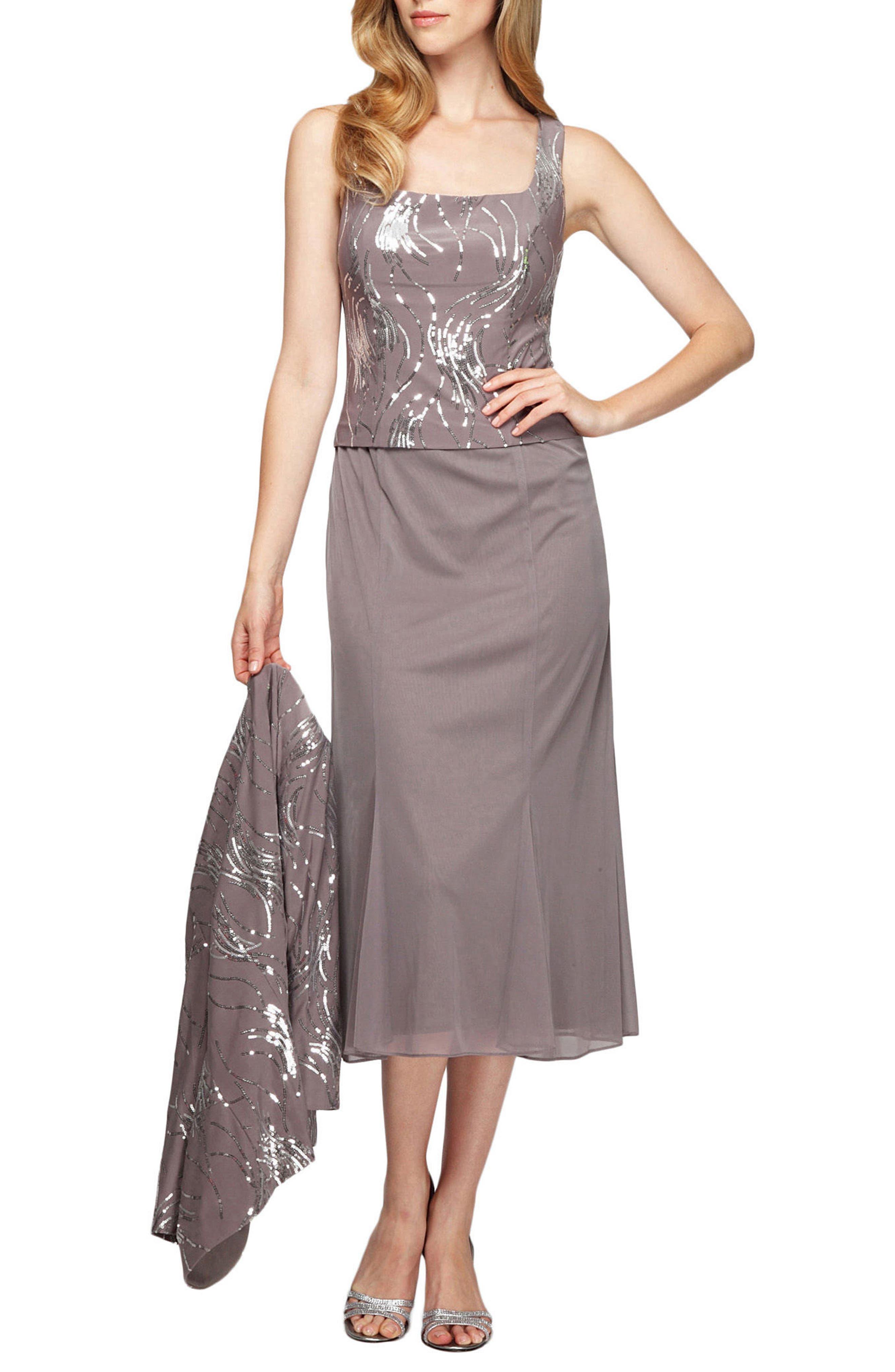 Midi Dress & Jacket,                             Alternate thumbnail 2, color,                             PEWTER FROST