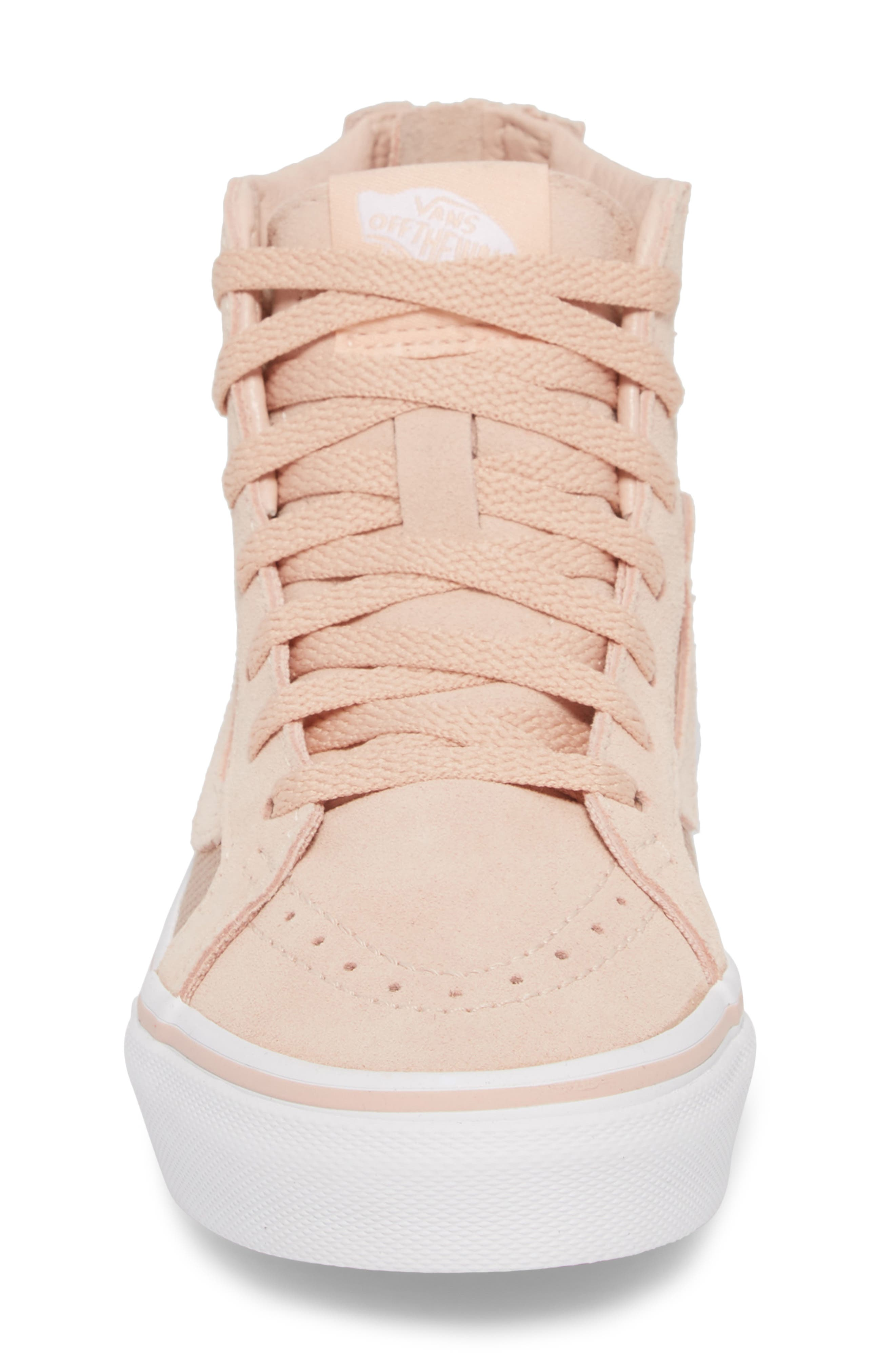 SK8-Hi Zip Sneaker,                             Alternate thumbnail 4, color,                             ROSE GOLD SUEDE LEATHER
