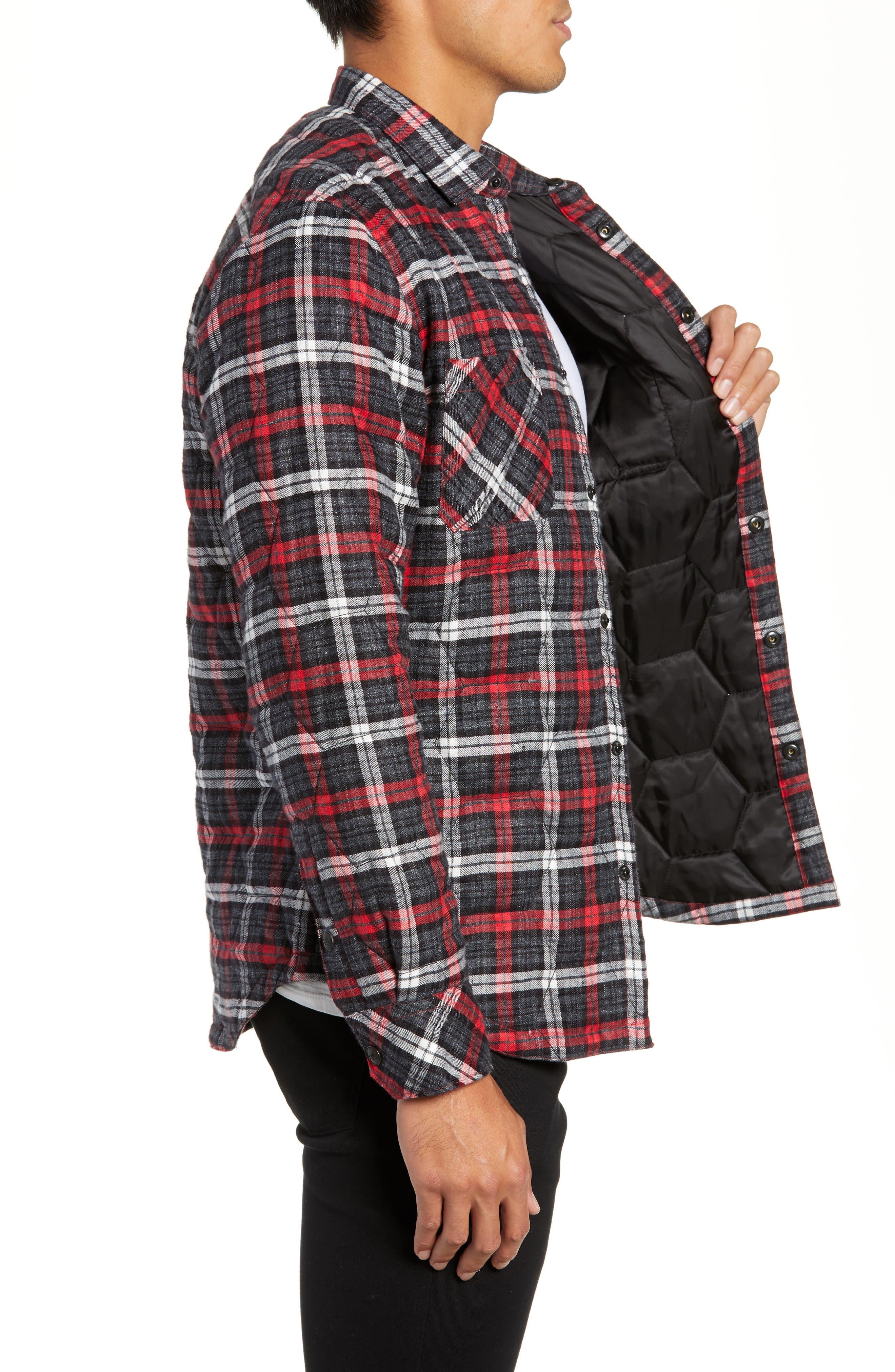 Slim Fit Linen Plaid Shirt Jacket,                             Alternate thumbnail 3, color,                             CHARCOAL