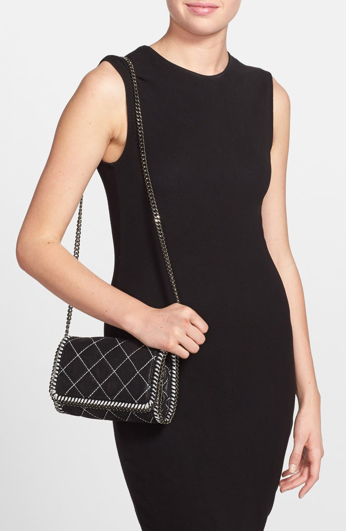 'Falabella' Quilted Faux Leather Crossbody Bag,                             Alternate thumbnail 6, color,