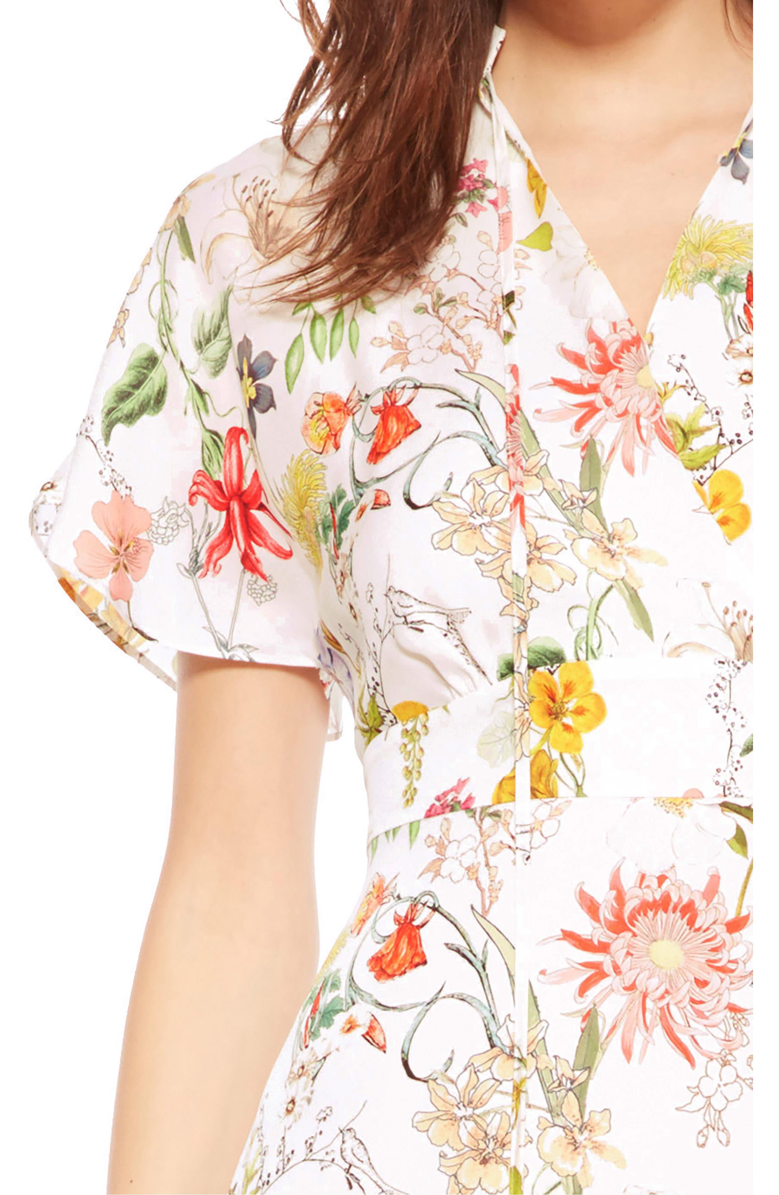 Natalie Floral Silk Dress,                             Alternate thumbnail 4, color,                             908