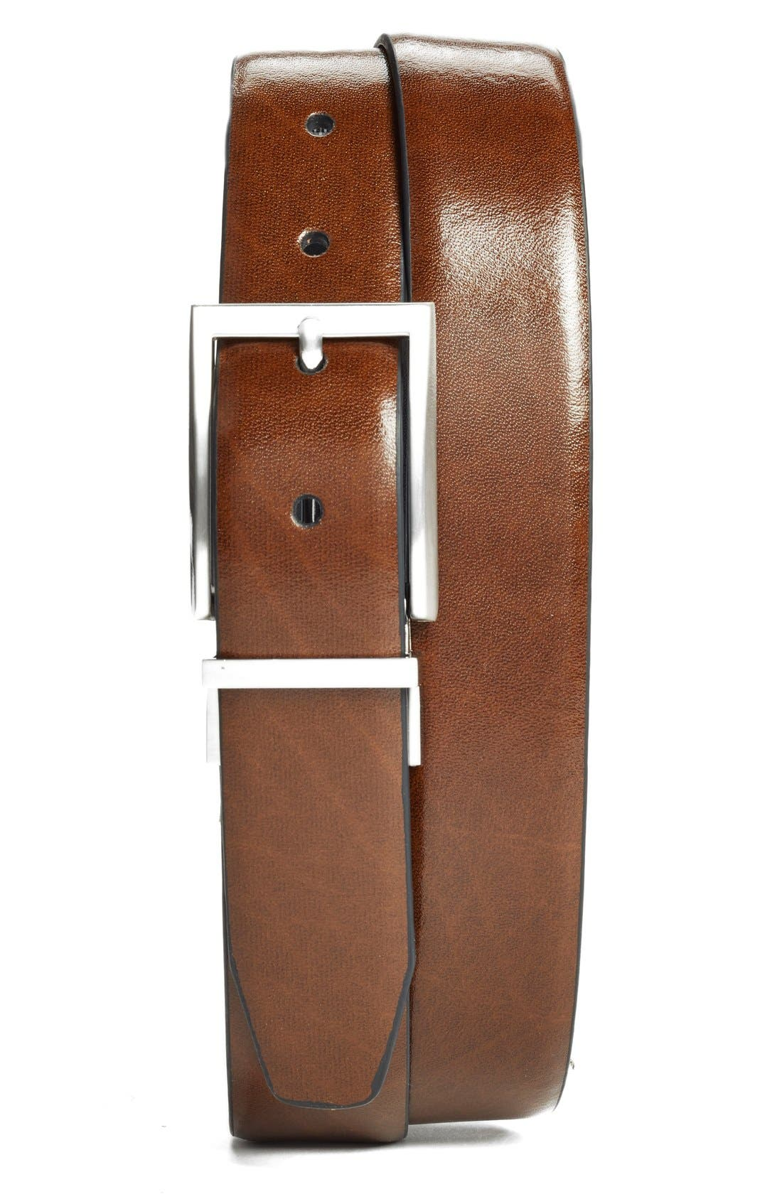Reversible Leather Belt,                             Alternate thumbnail 2, color,                             BLACK/ BROWN