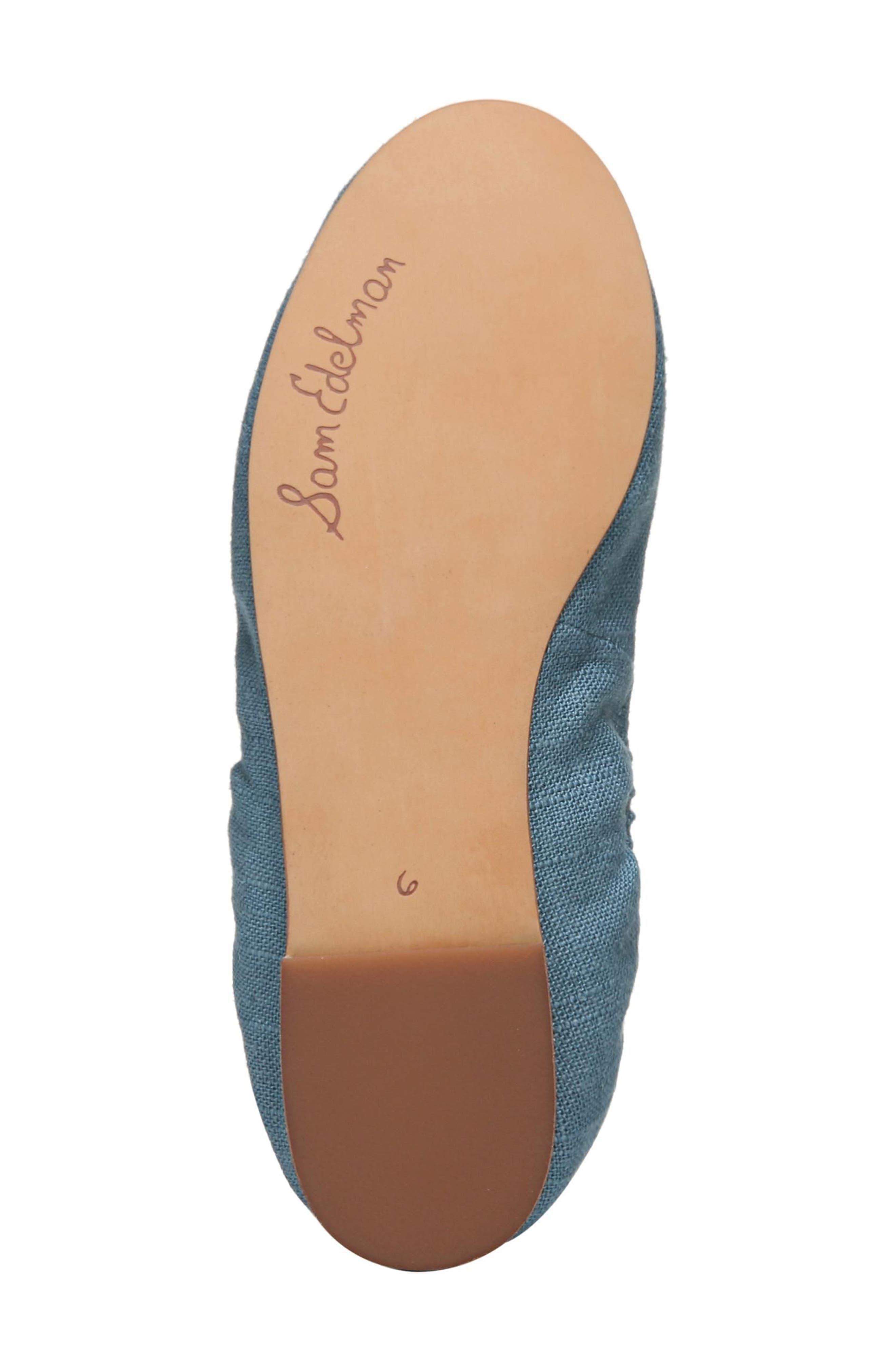 Felicia Flat,                             Alternate thumbnail 5, color,                             DENIM BLUE FABRIC