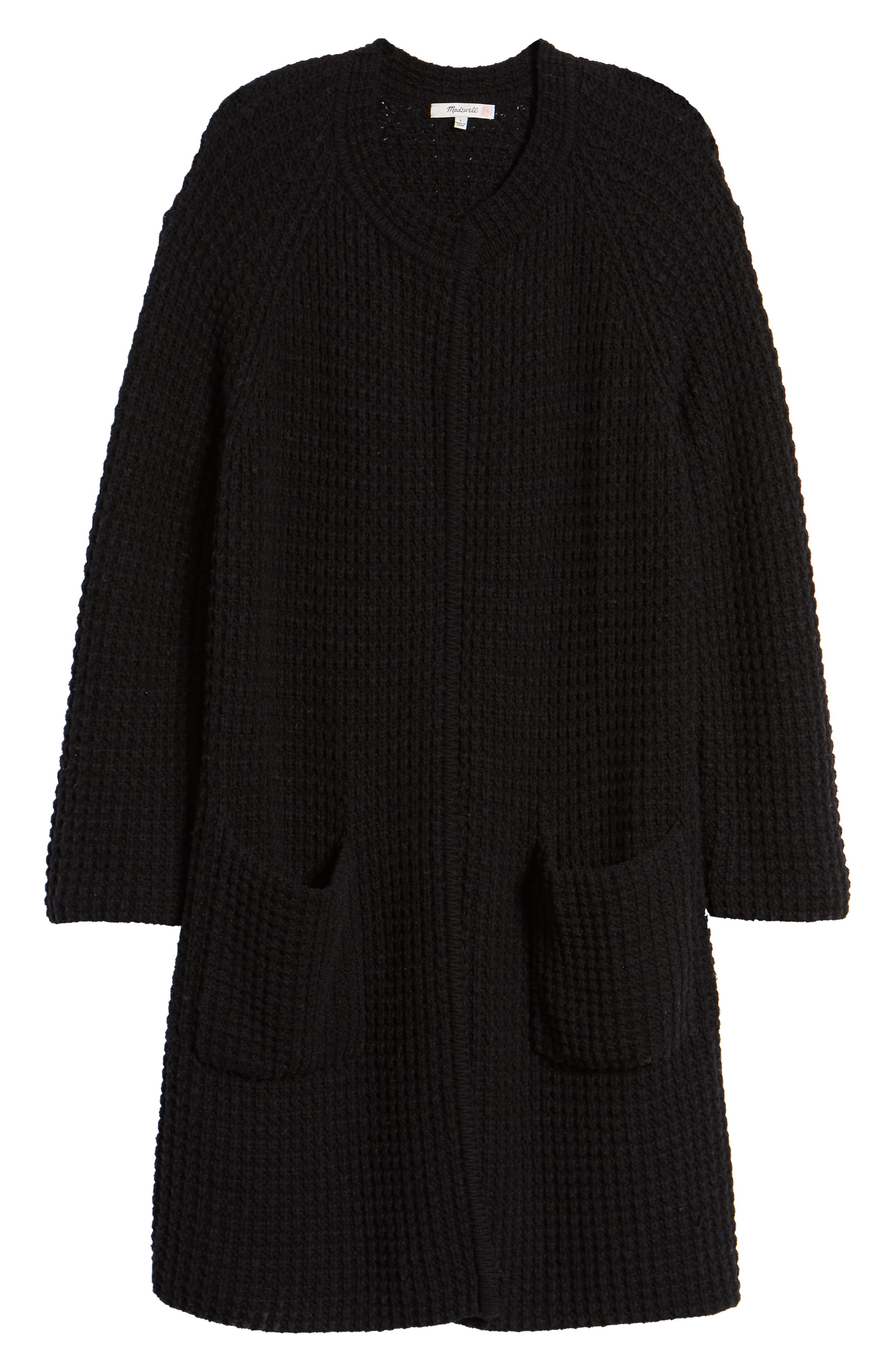 Waffle Stitch Sweater Jacket,                             Alternate thumbnail 6, color,                             001