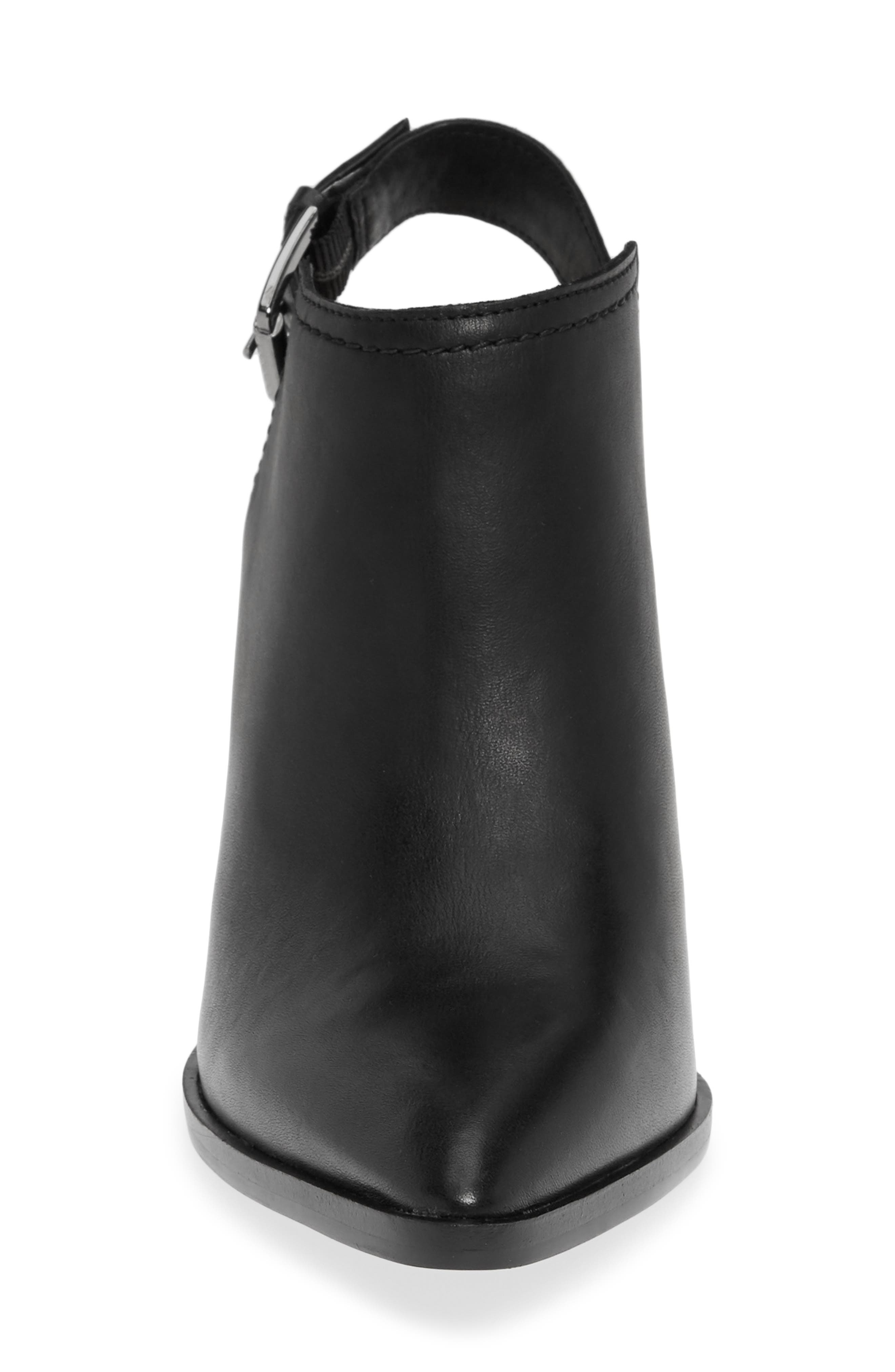 HALOGEN<SUP>®</SUP>,                             Brooke Stacked Heel Bootie,                             Alternate thumbnail 4, color,                             BLACK LEATHER