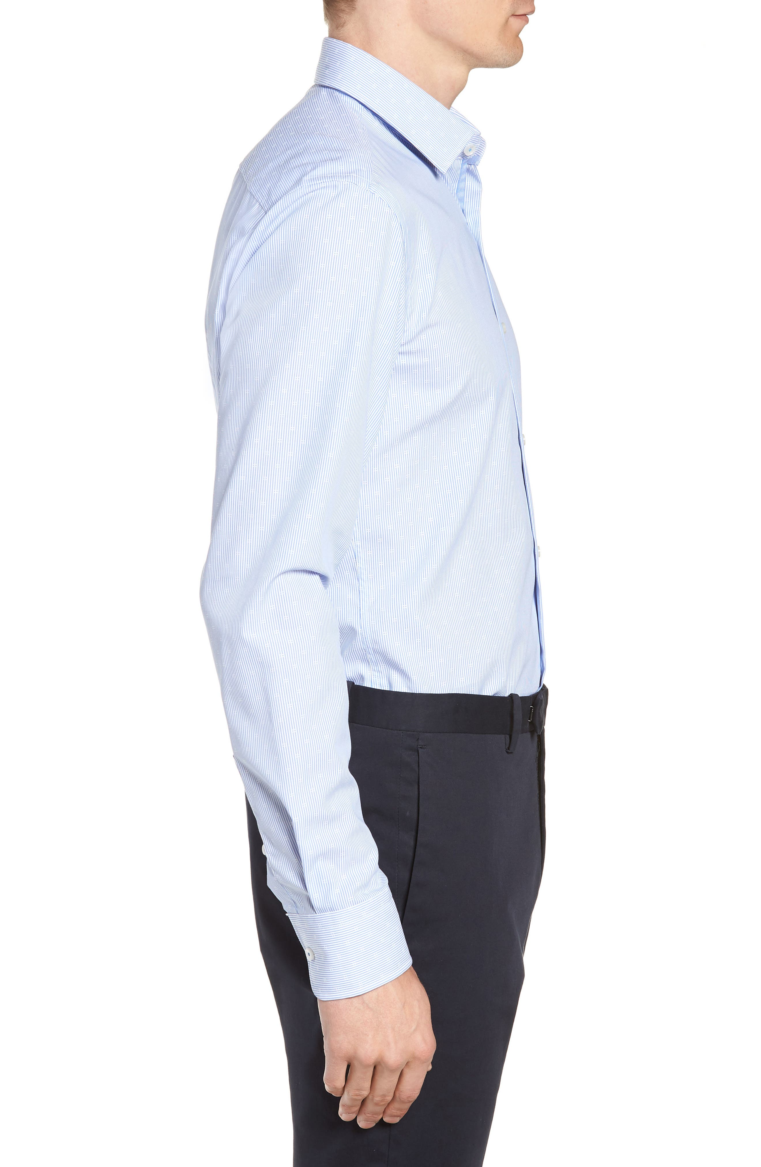Jesse Slim Fit Stripe Dress Shirt,                             Alternate thumbnail 4, color,                             BLUE