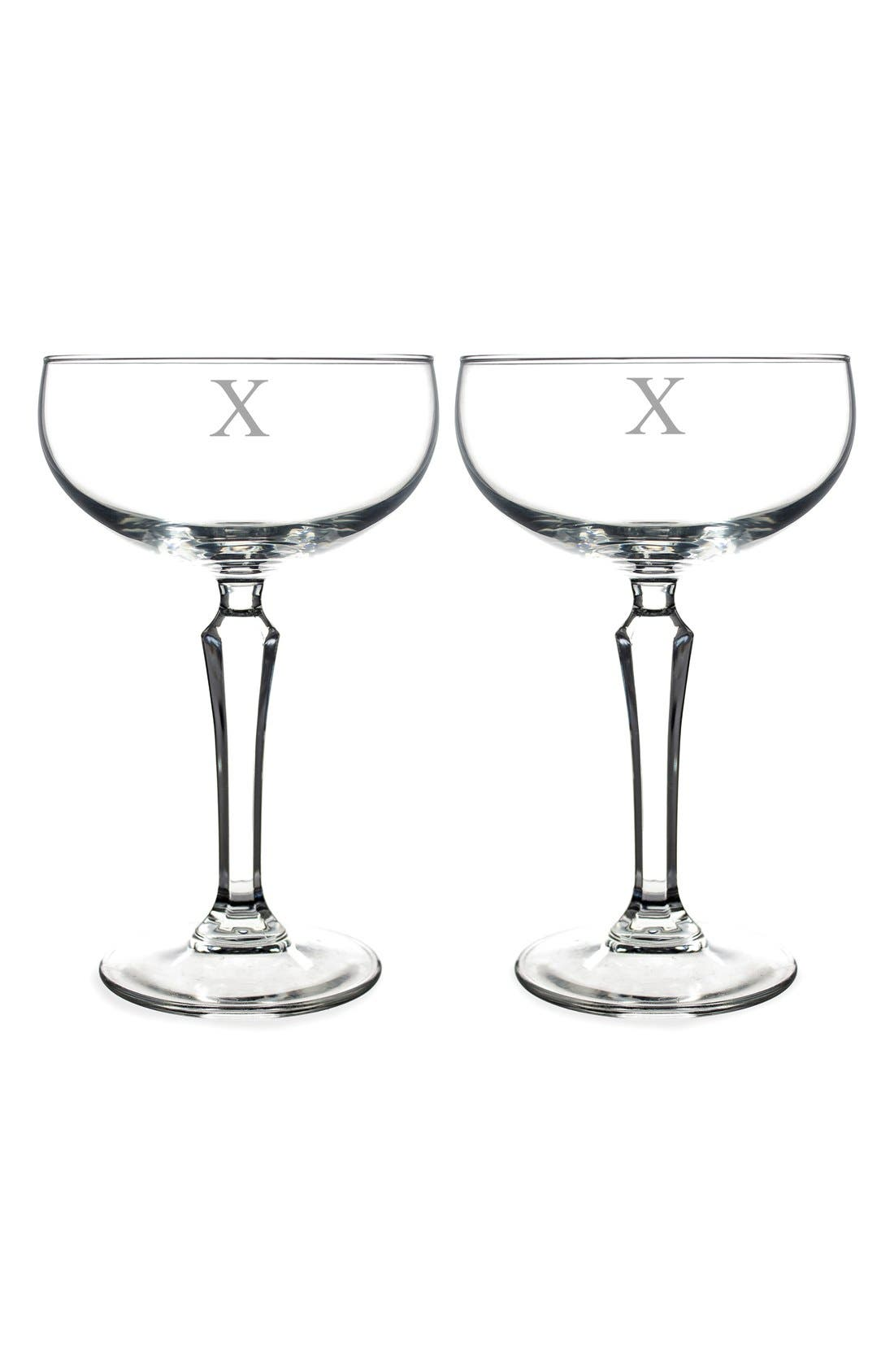 Monogram Coupe Cocktail/Champagne Glasses,                             Main thumbnail 25, color,