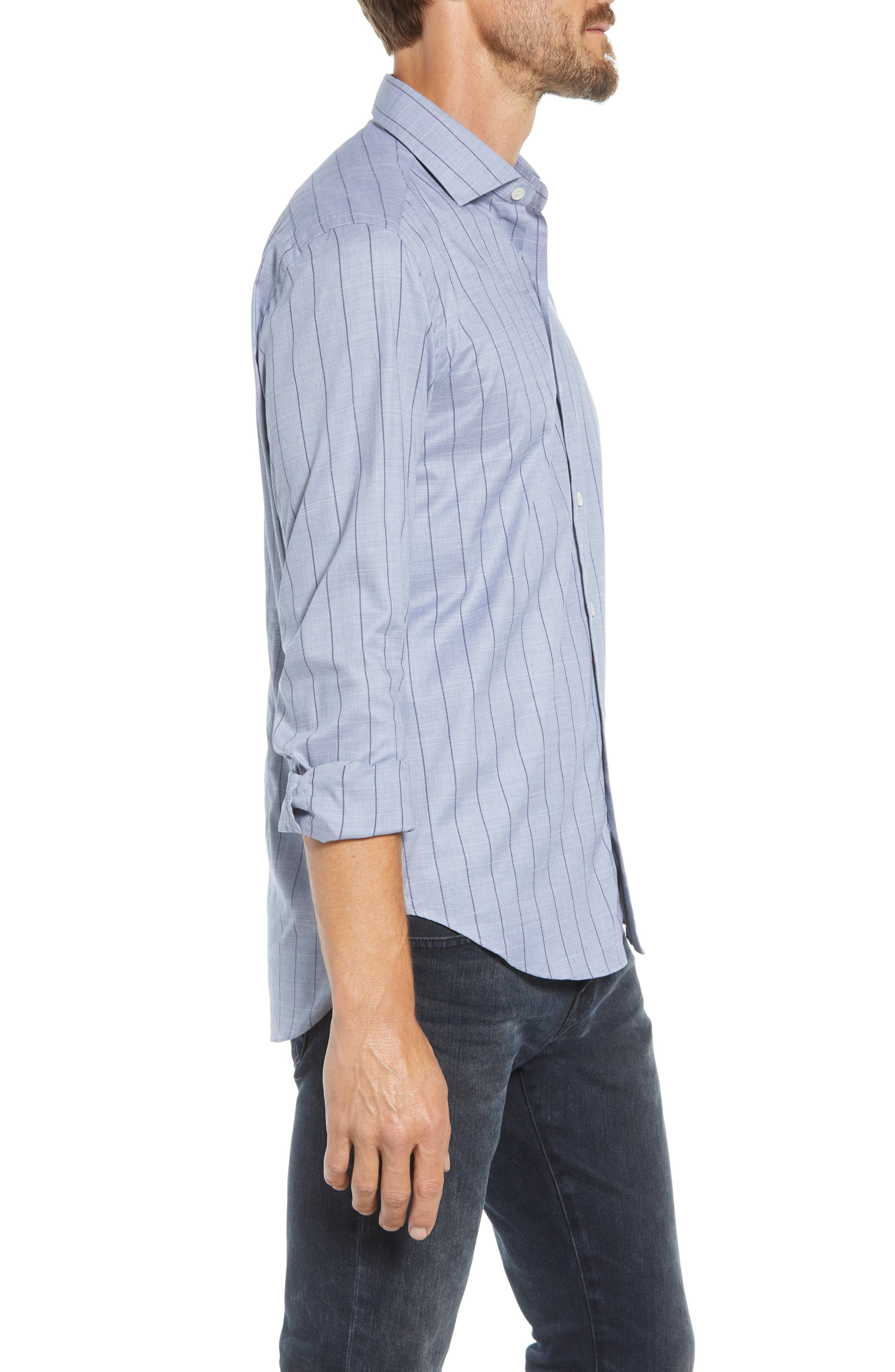 Tailored Fit Stripe Sport Shirt,                             Alternate thumbnail 4, color,                             400