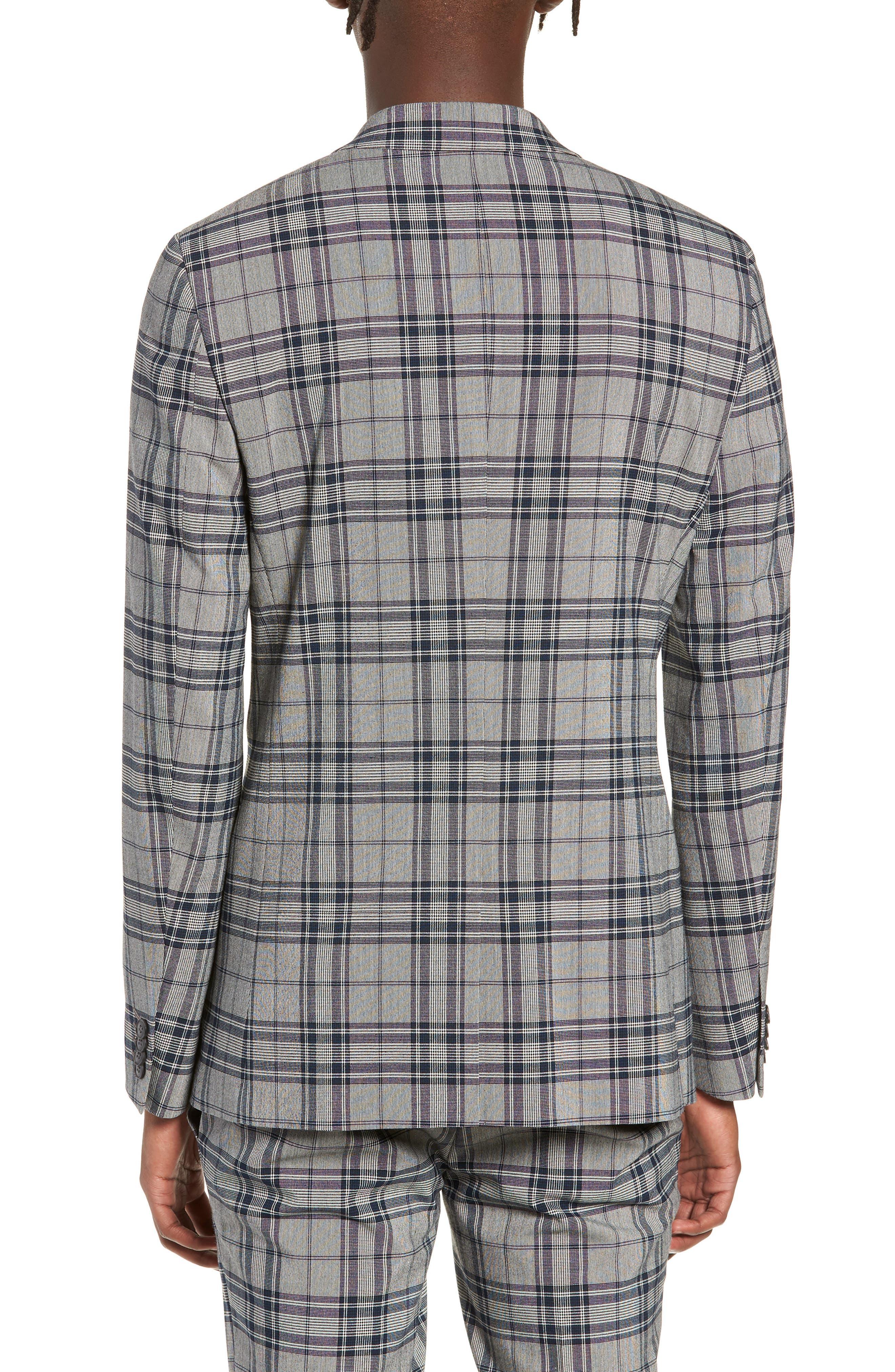 Skinny Fit Plaid Suit Jacket,                             Alternate thumbnail 2, color,                             GREY MULTI
