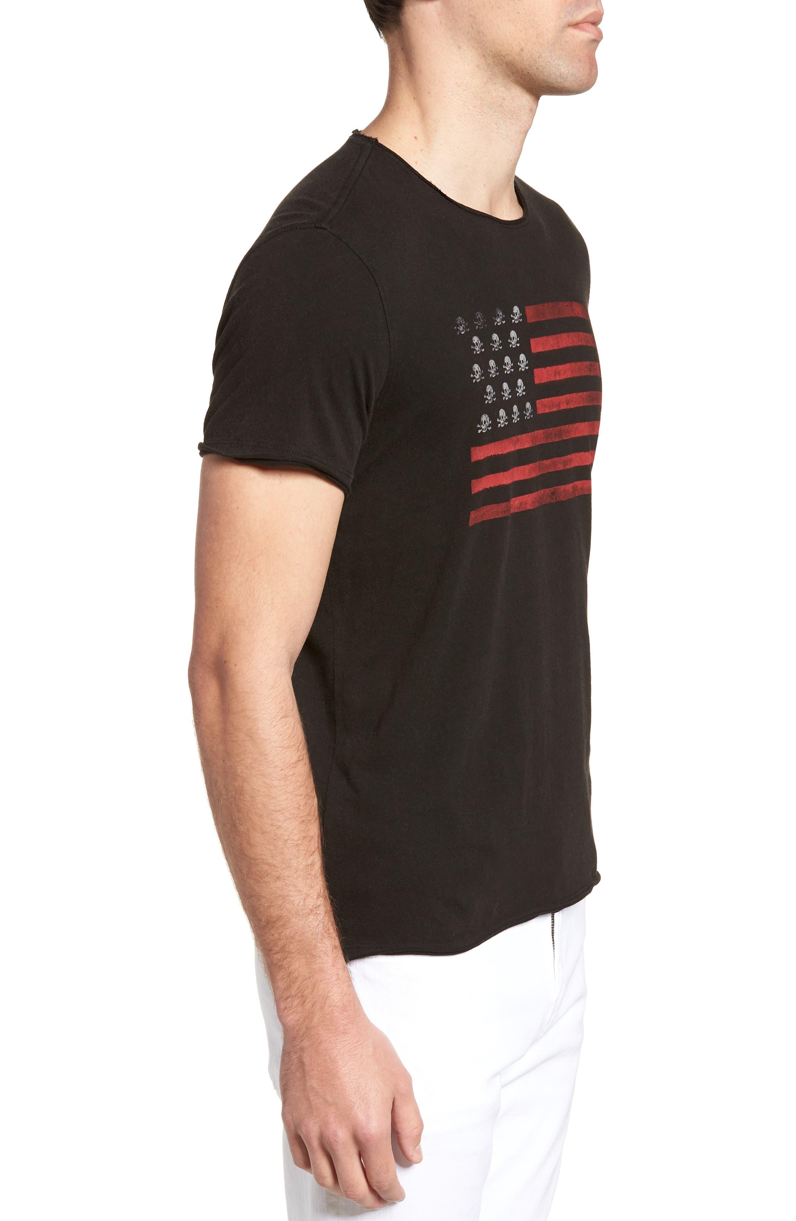Skull Flag Crewneck T-Shirt,                             Alternate thumbnail 3, color,                             001