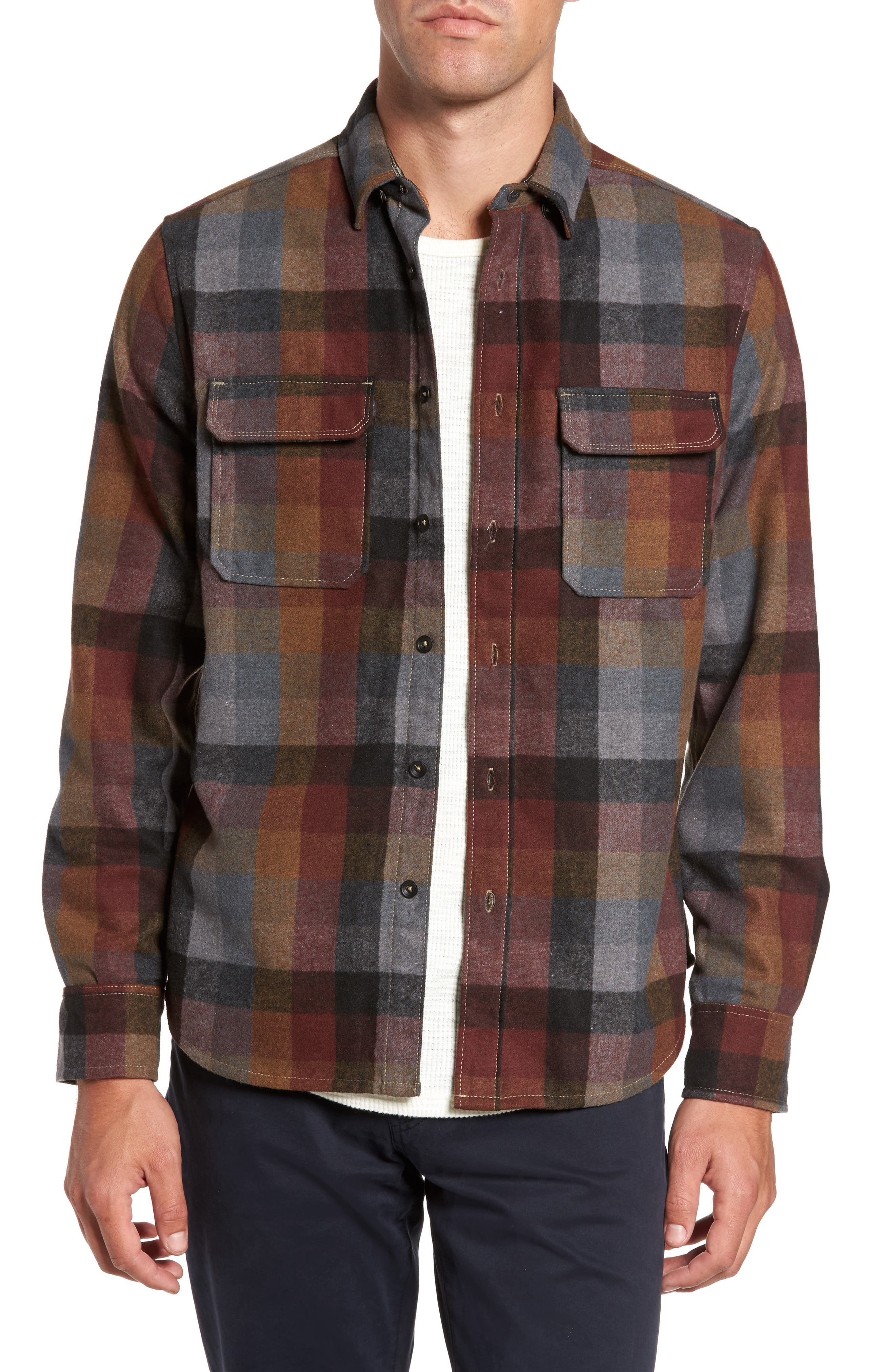 Jeremiah Heath Brushed Flannel Shirt, Burgundy