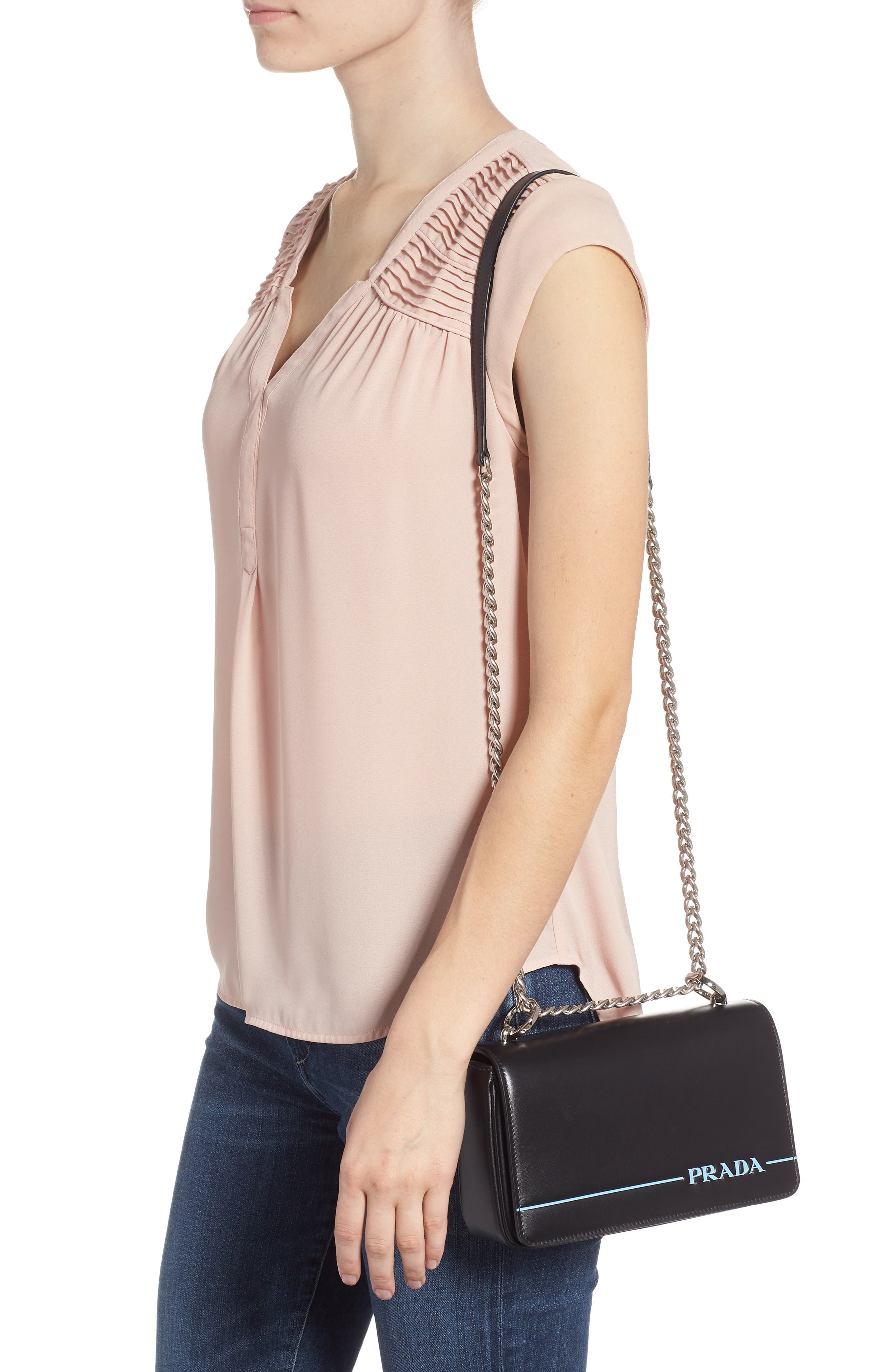 Flap Leather Crossbody Bag with Stripe,                             Alternate thumbnail 2, color,                             NERO