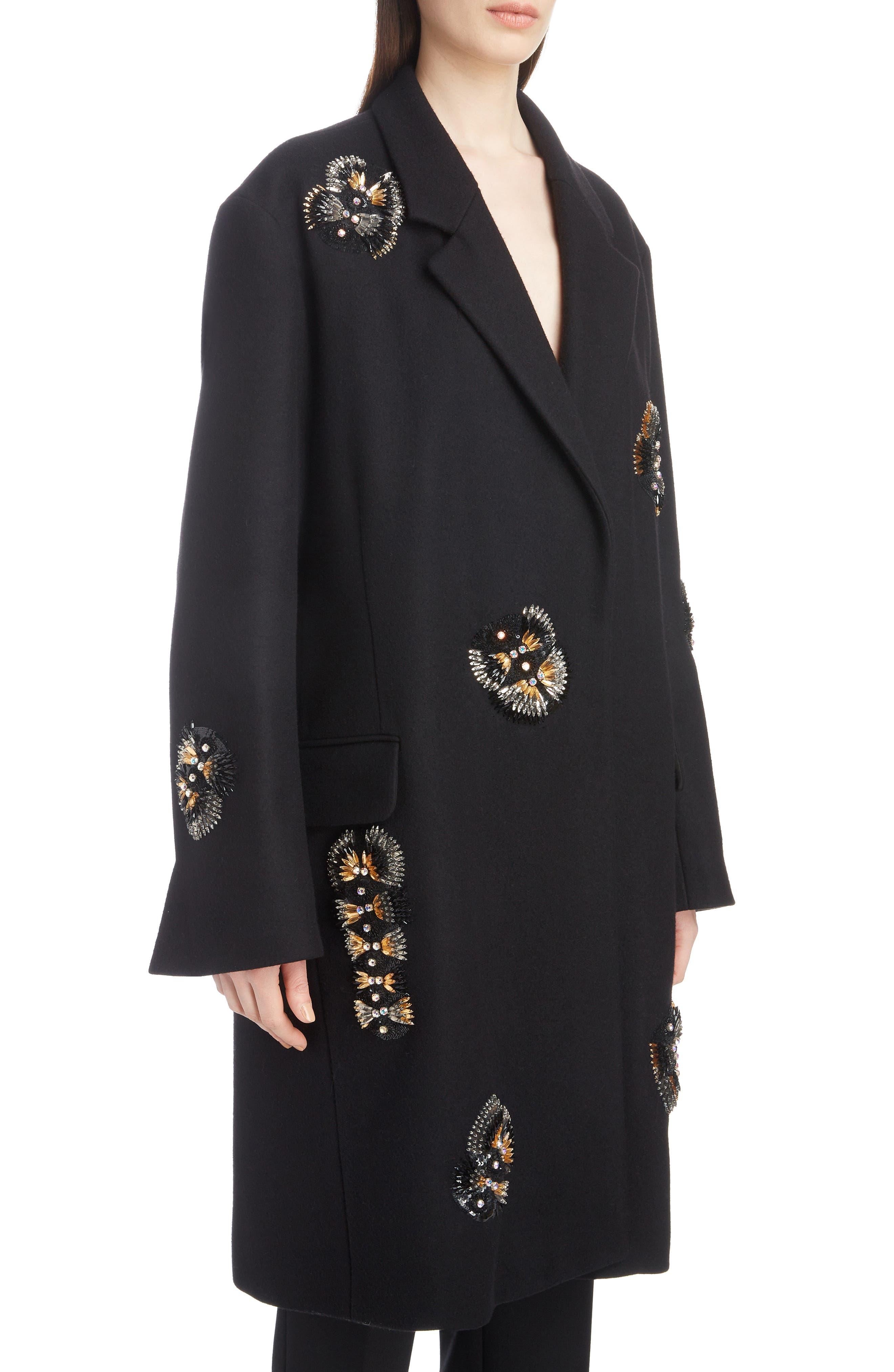 Embellished Wool Blend Coat,                             Alternate thumbnail 4, color,                             BLACK