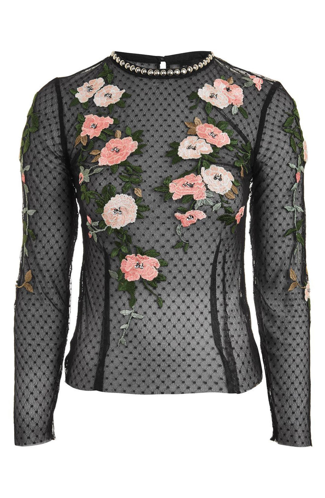 Embroidered Mesh Top,                             Alternate thumbnail 3, color,                             001