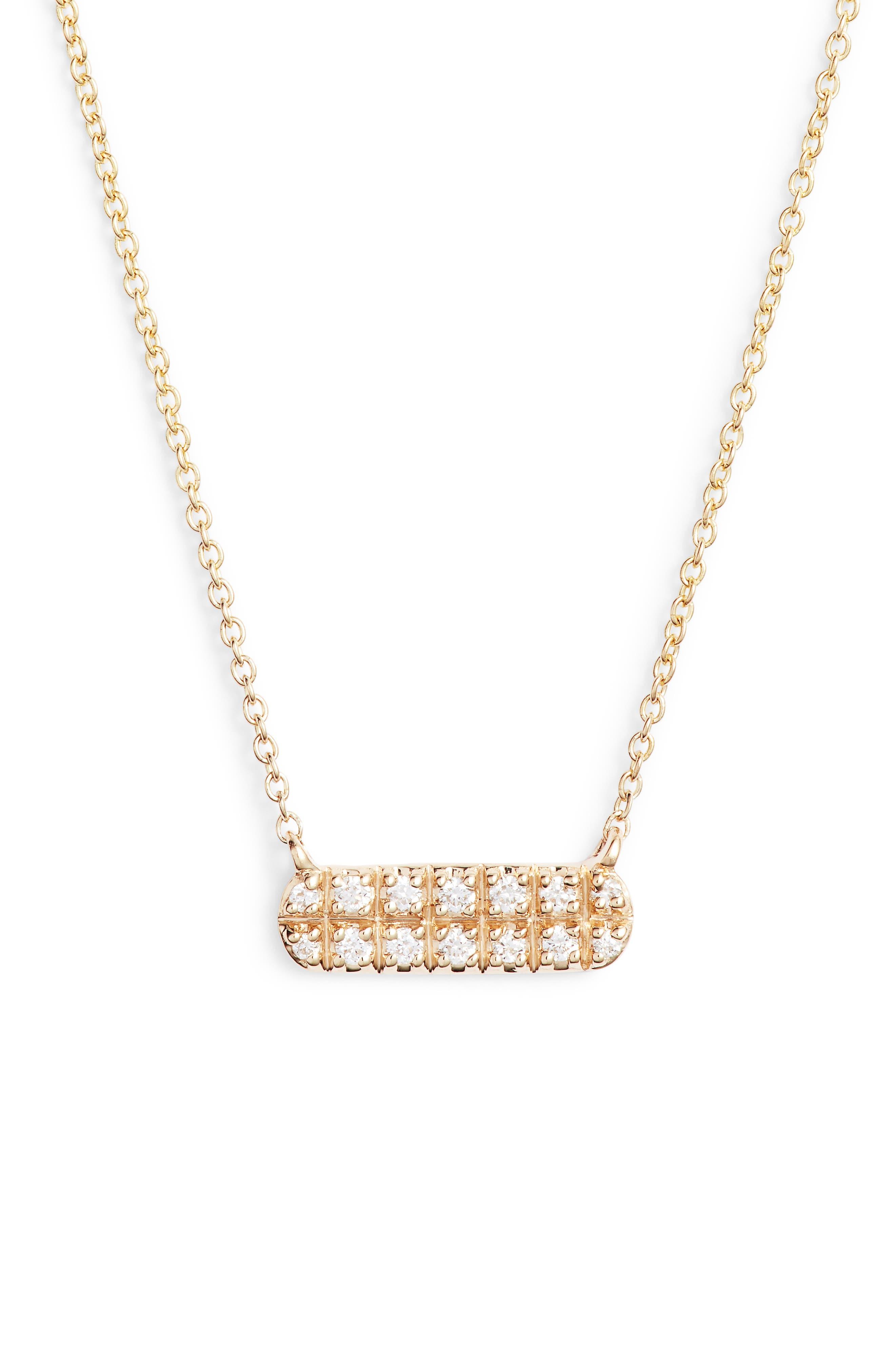 DANA REBECCA DESIGNS Dana Rebecca Sylvie Rose Mini Bar Necklace, Main, color, YELLOW GOLD
