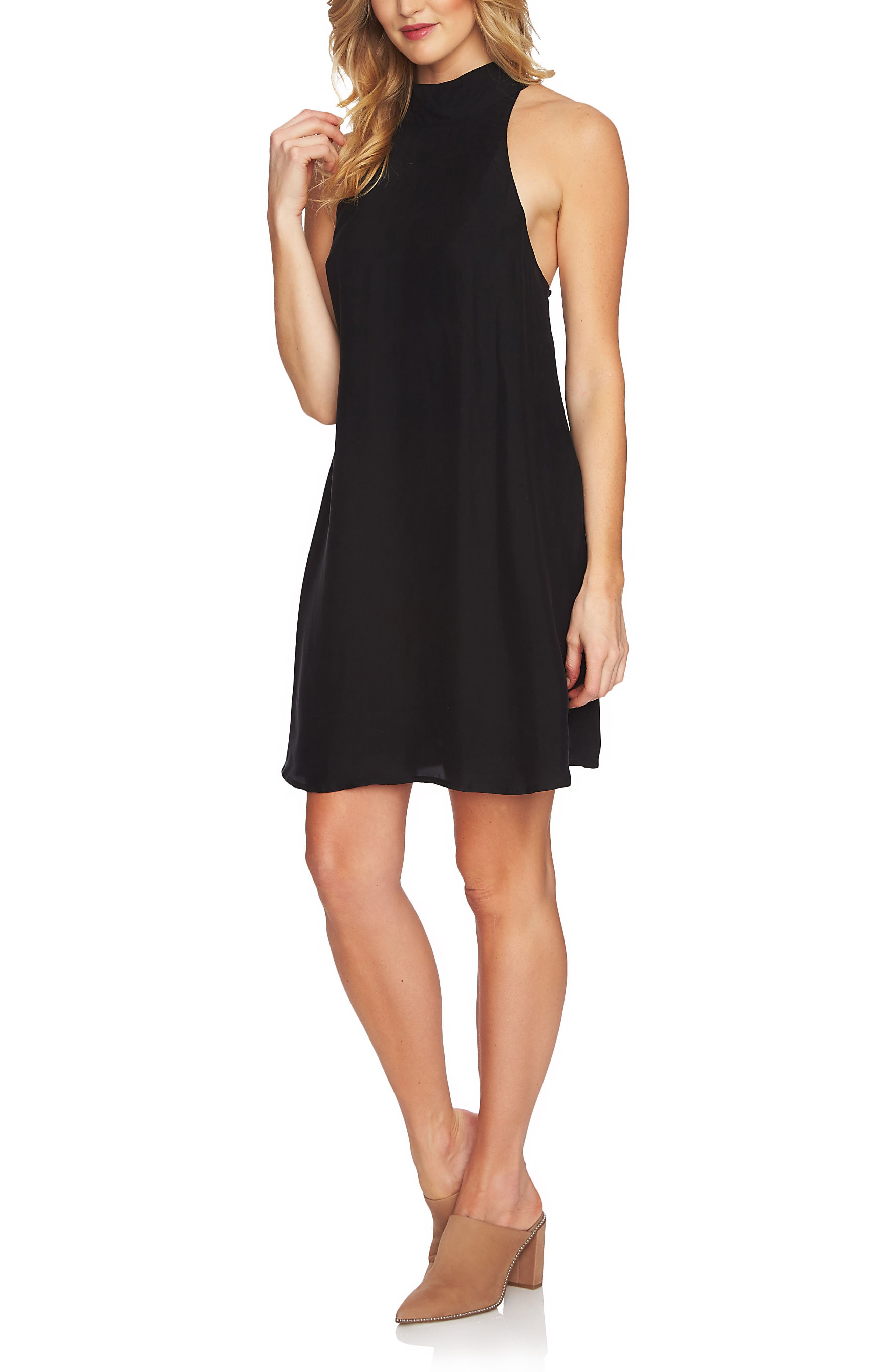 Mock Neck Shift Dress,                             Main thumbnail 1, color,                             RICH BLACK